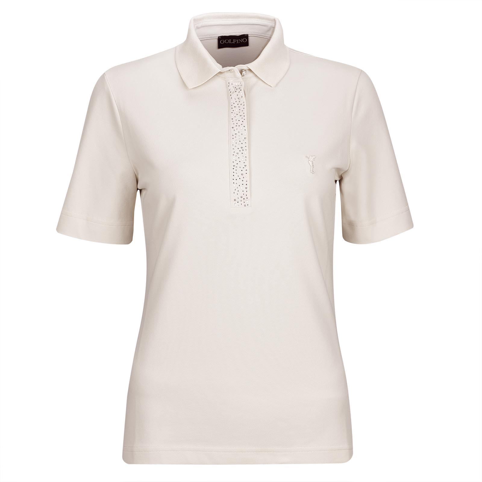 Ladies' polo with decorative stones