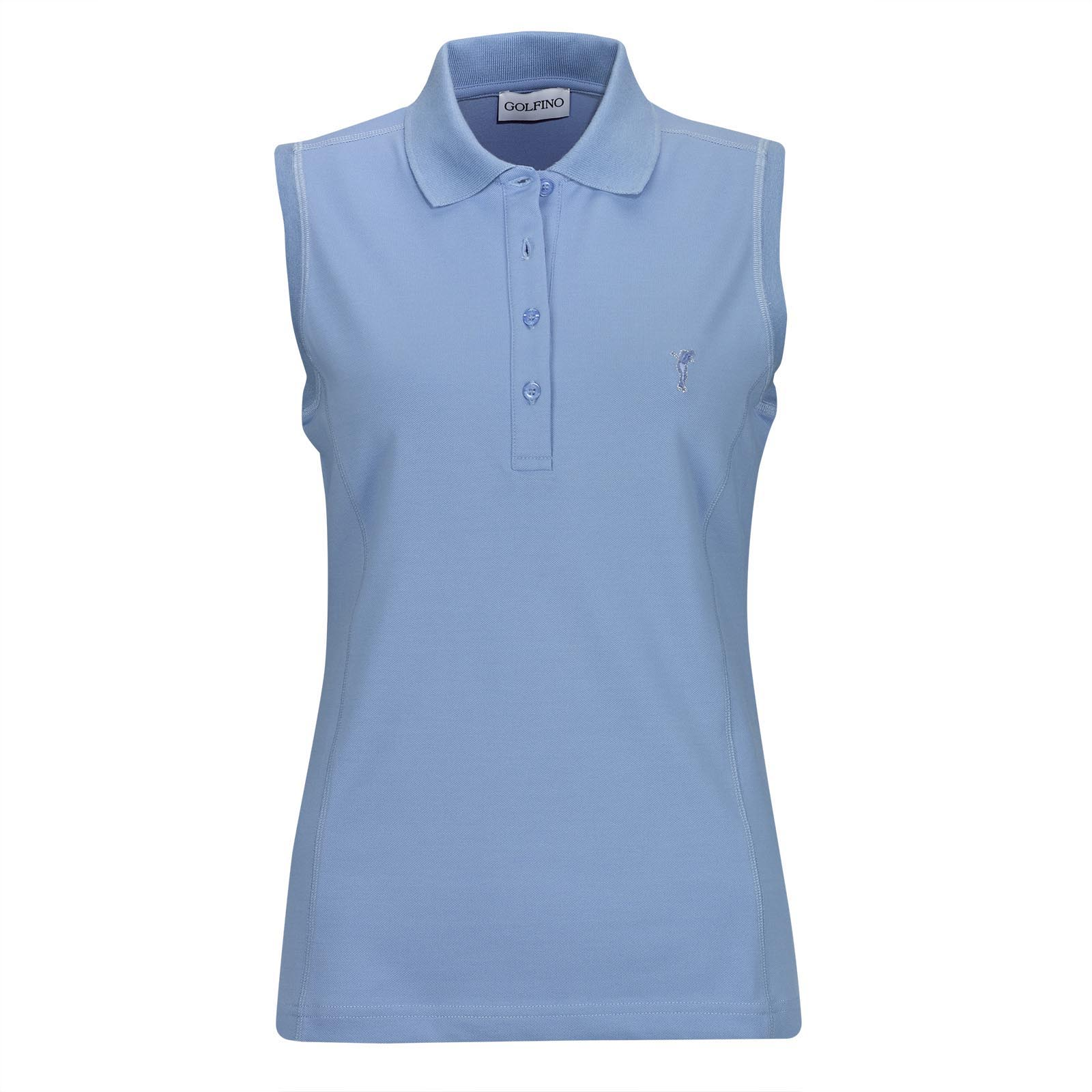 Sleeveless ladies' golf polo shirt with sun protection in slim fit