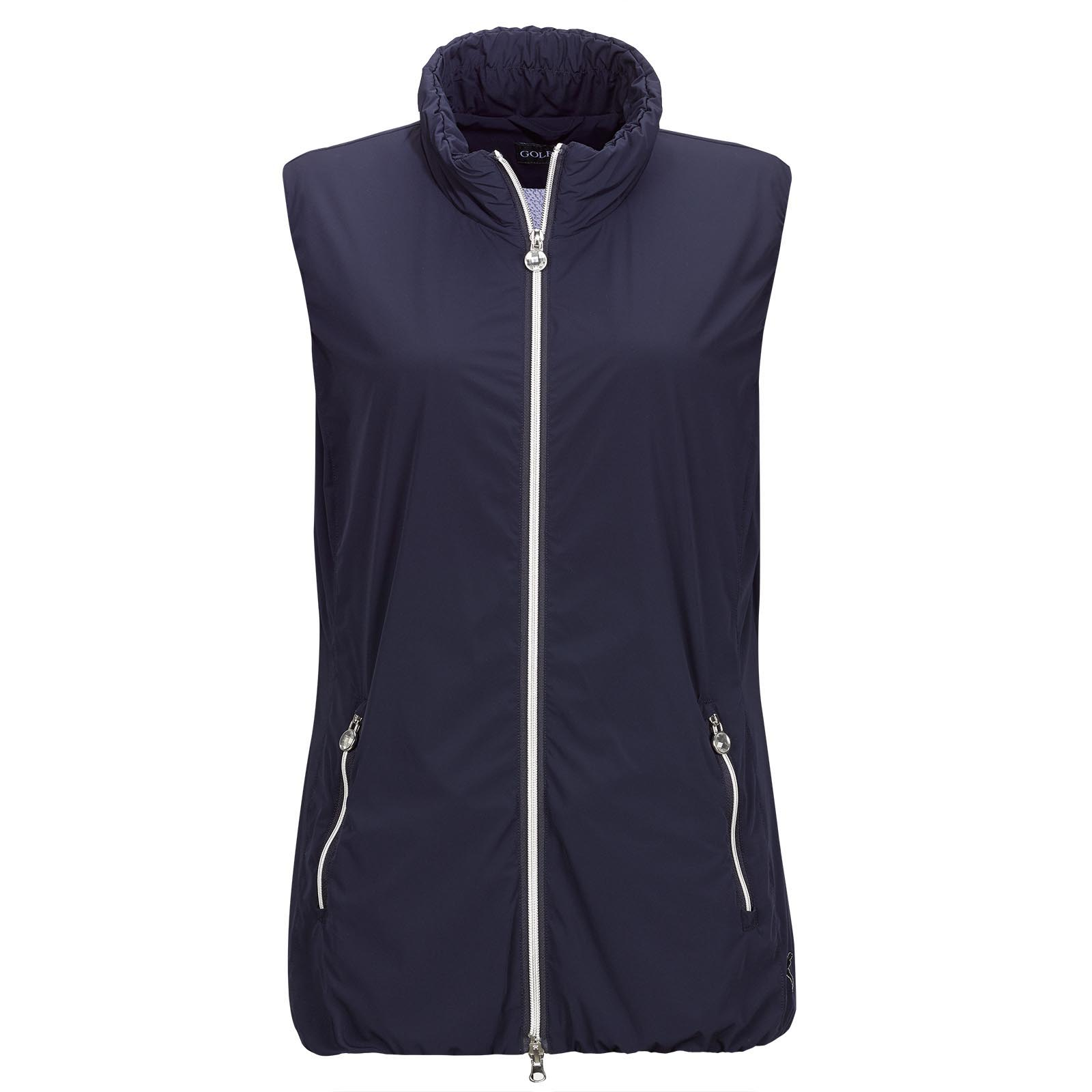 Ladies' golf waistcoat made from elastic micro-stretch fabric with mesh lining