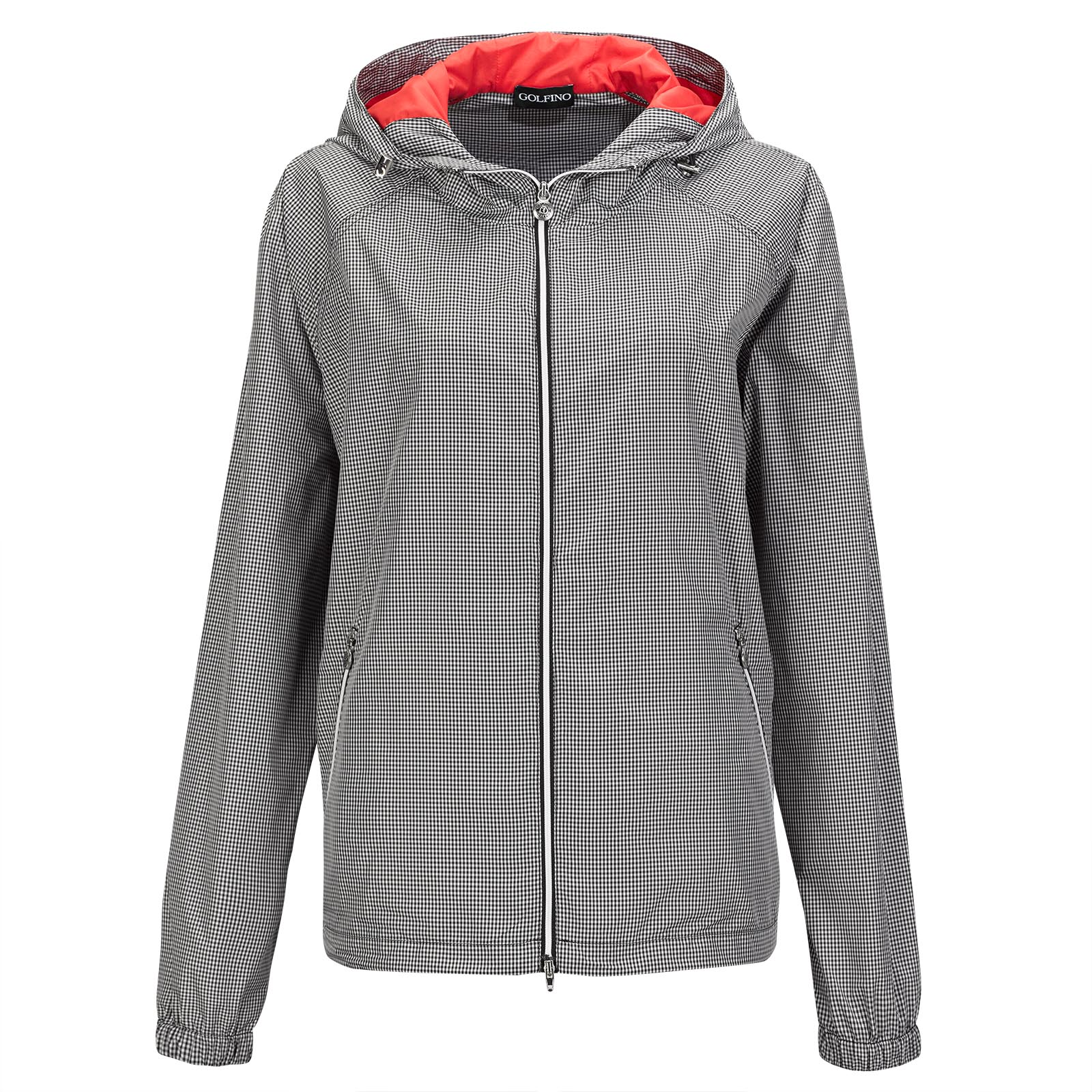 Wind Protection Ladies' golf jacket with Vichy pattern and hood