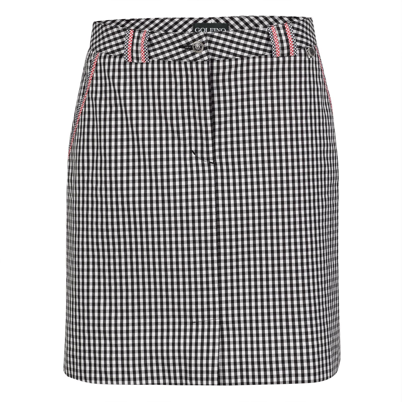 Ladies' medium golf skort with Vichy pattern and integrated trousers