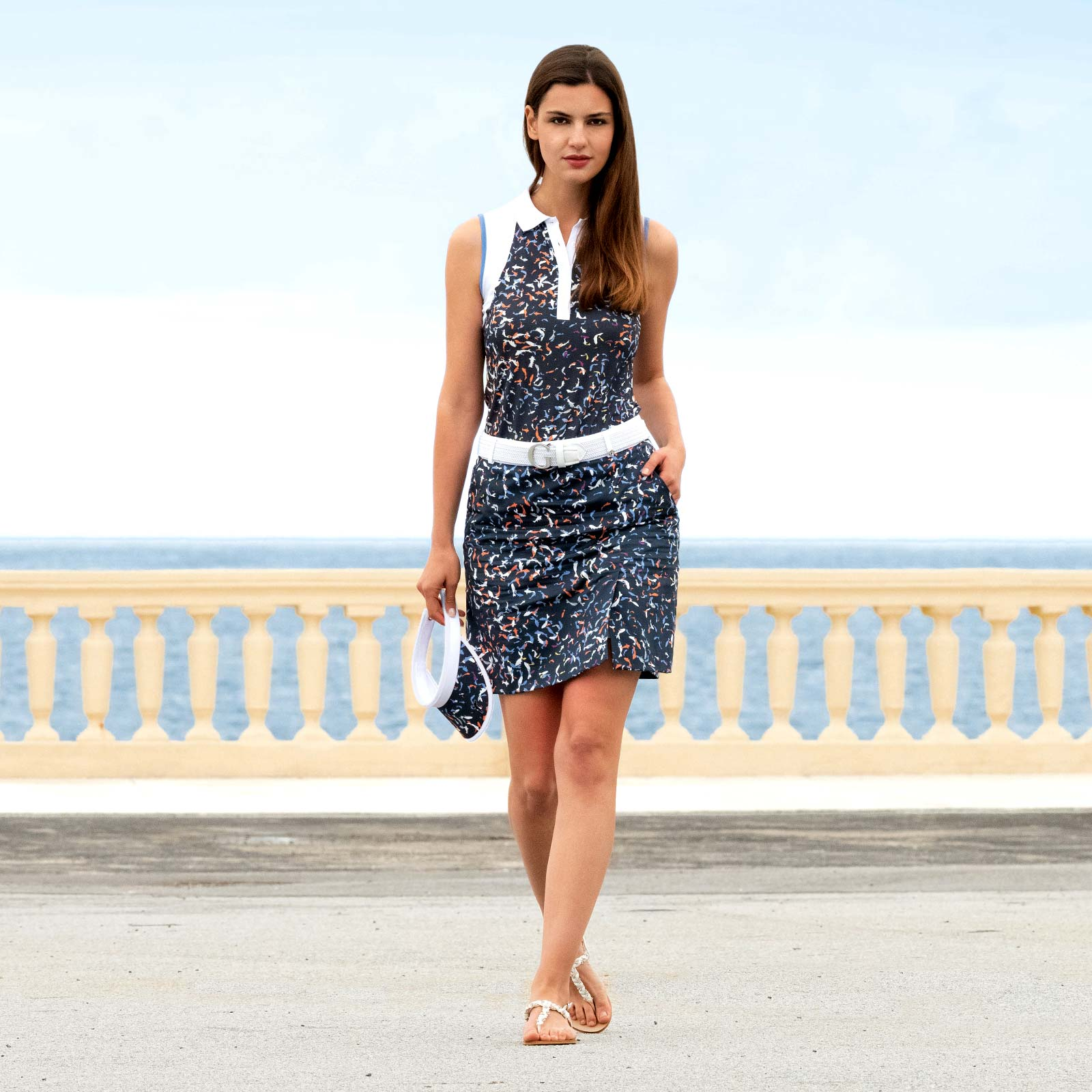 Damen Stretch Golfskort mit maritimem Muster in mittlerer Länge