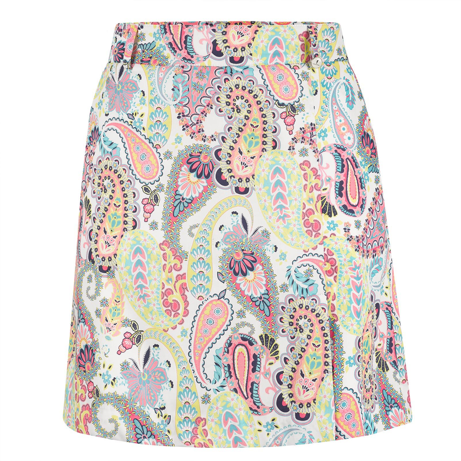 Ladies' medium length golf skort with paisley pattern
