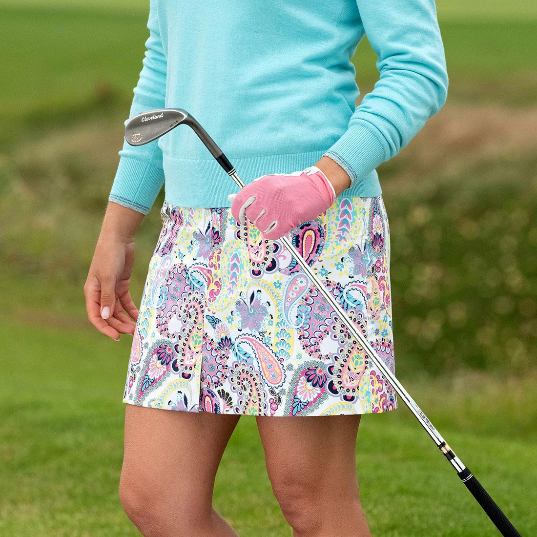 Damen Golfskort mit Paisley-Muster in mittlerer Länge