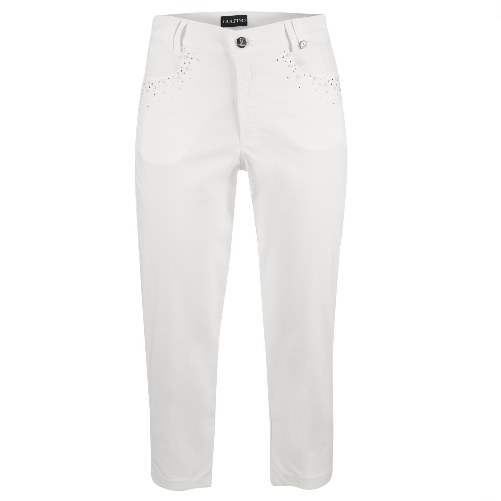 Ladies' golf capri trousers with beads embellishment from exclusive cotton mix