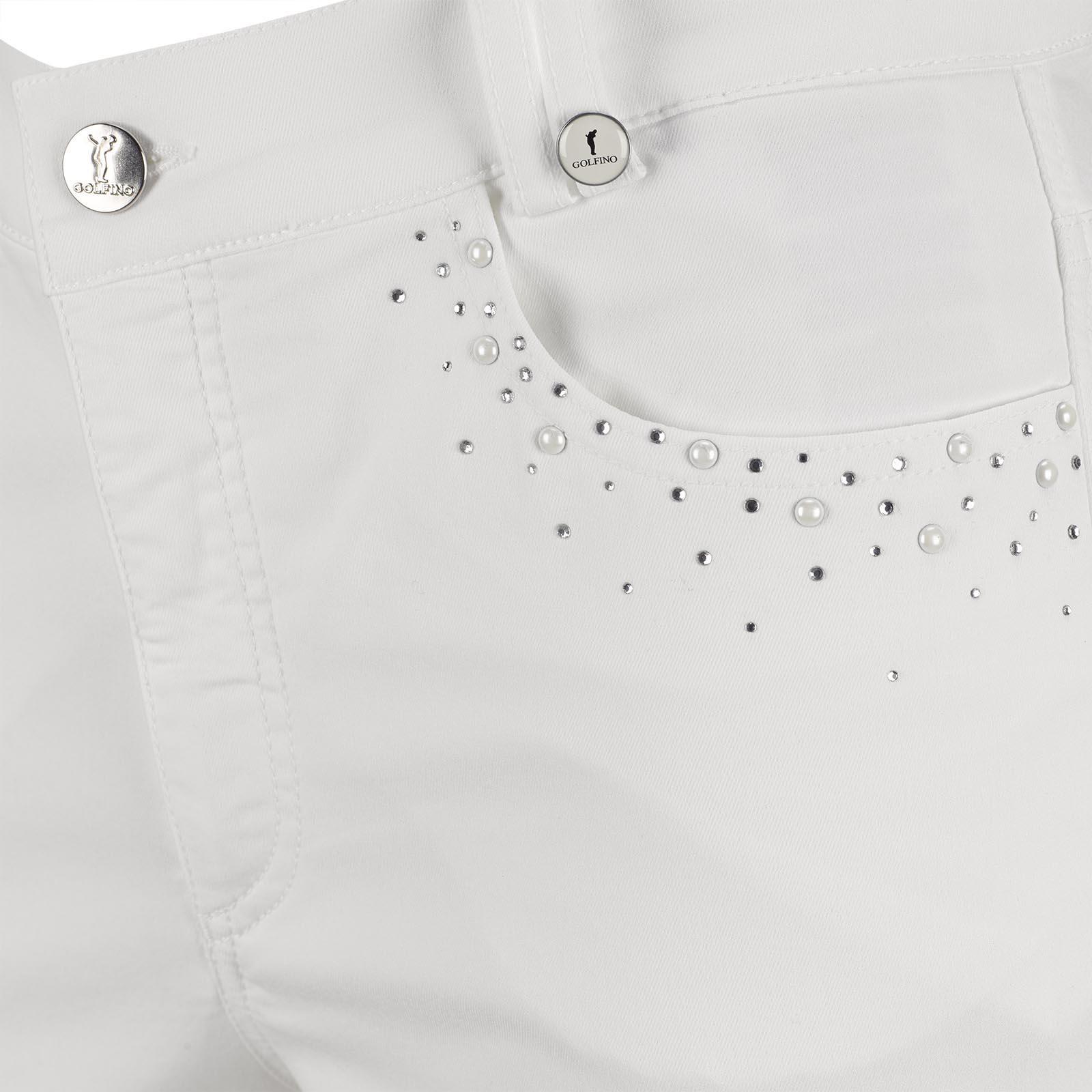 Damen Golf-Caprihose mit Perlen-Applikation aus exklusivem Baumwoll-Mix