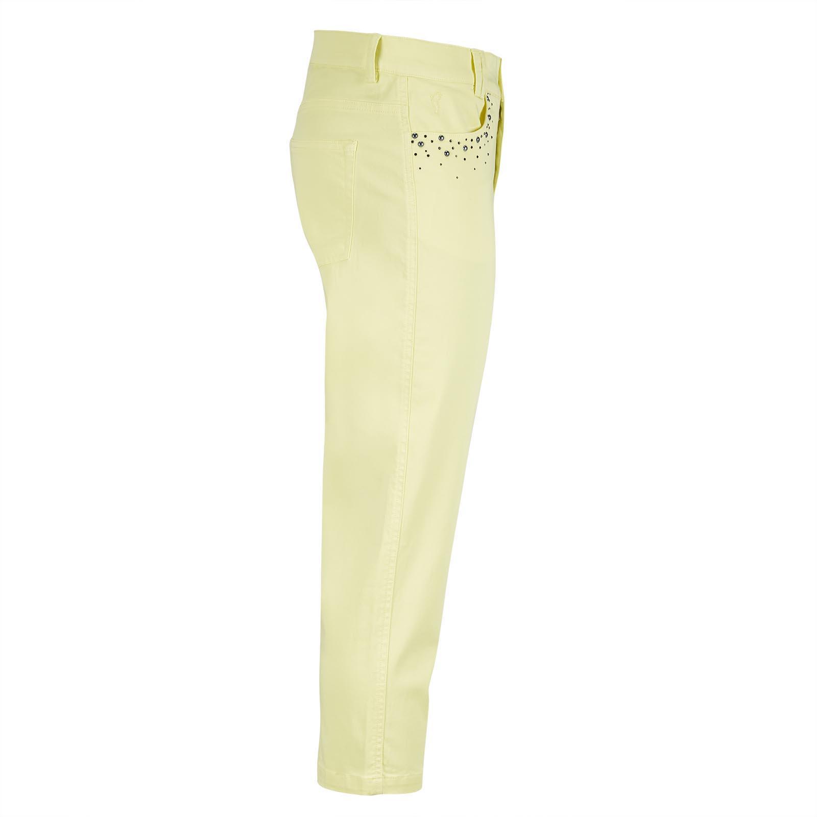Damen Golf-Caprihose aus hochwertiger Cotton-Blend mit Applikationen
