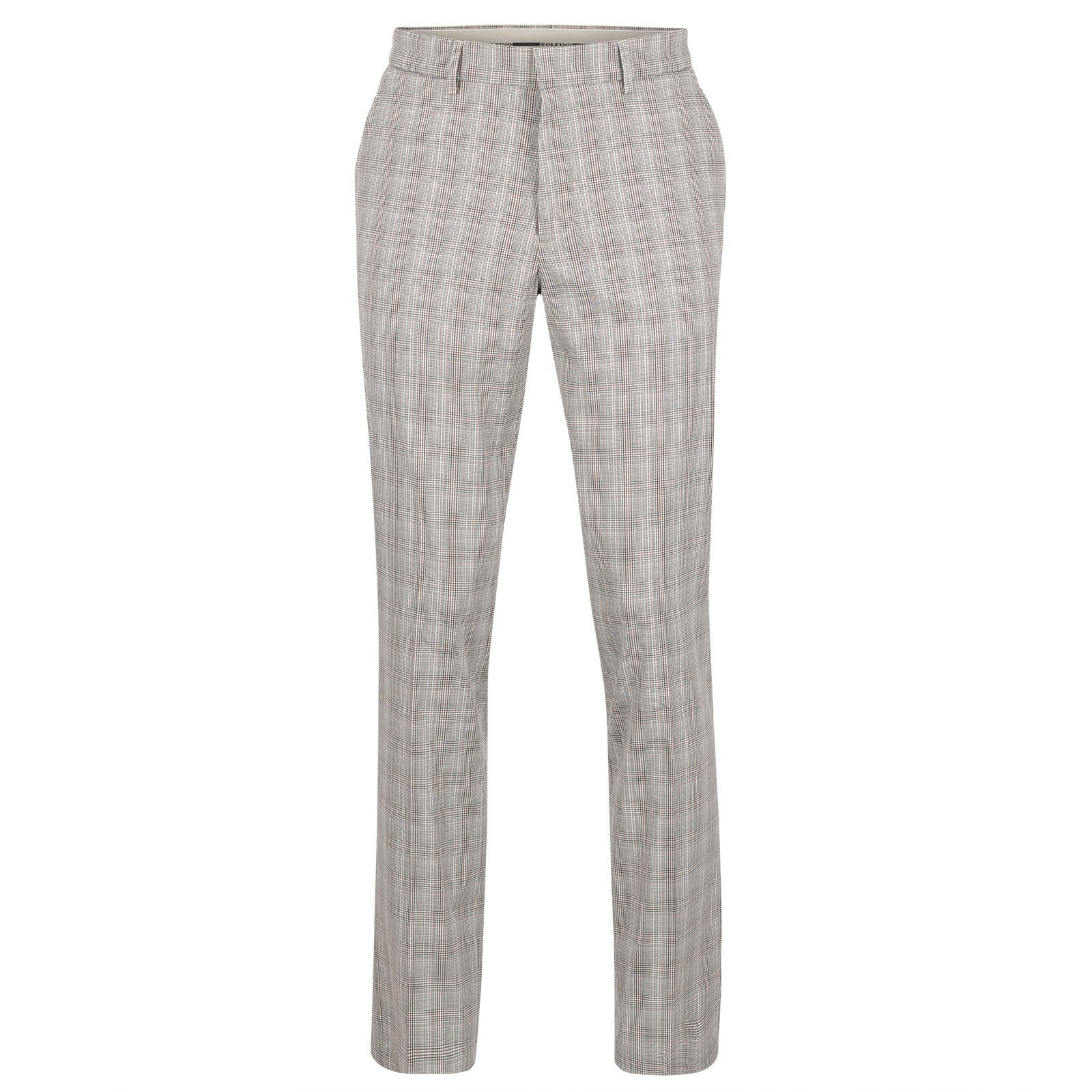 Men's cotton mix chequered stretch golf trousers for a classic look