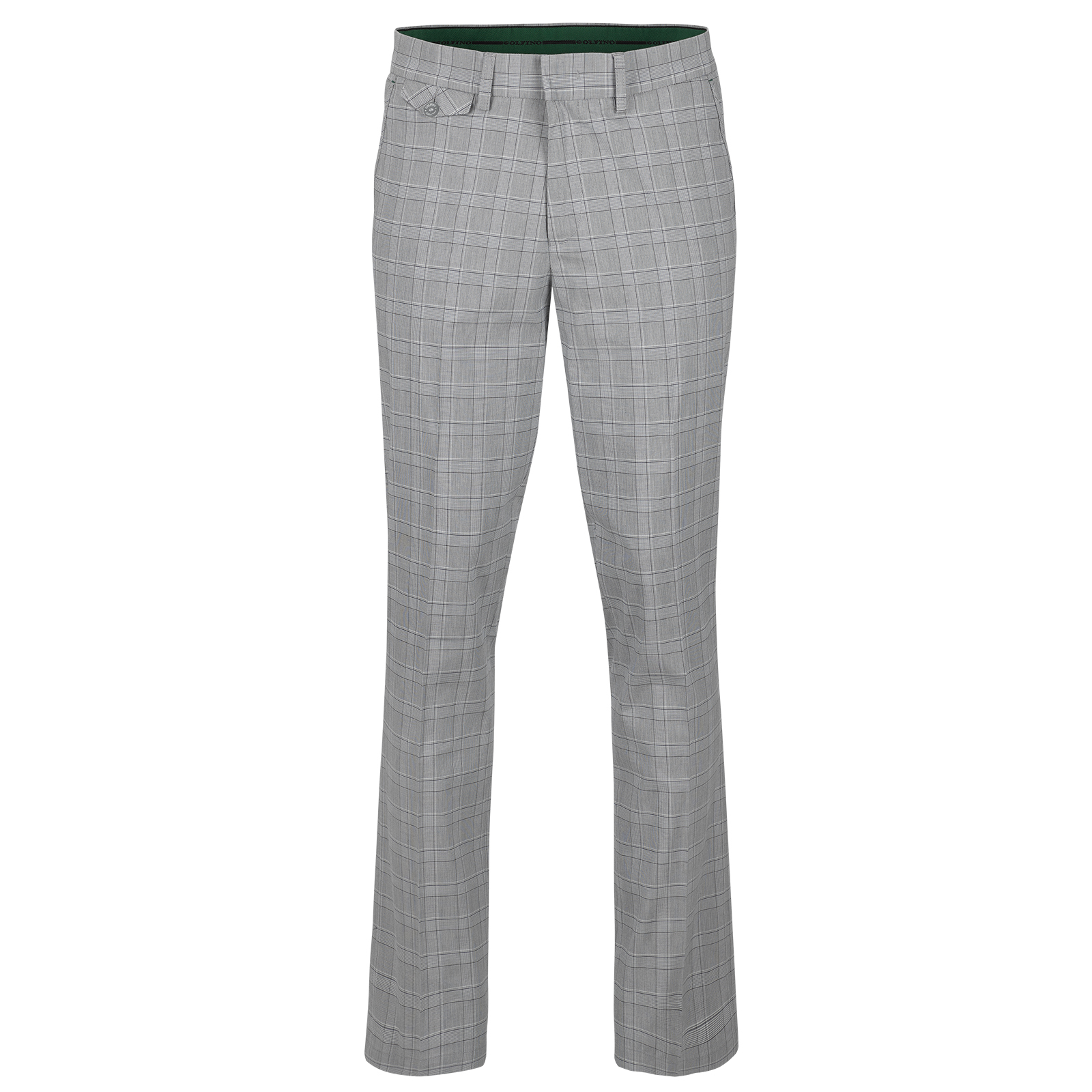 Men's cotton blend chequered golf trousers with slight stretch
