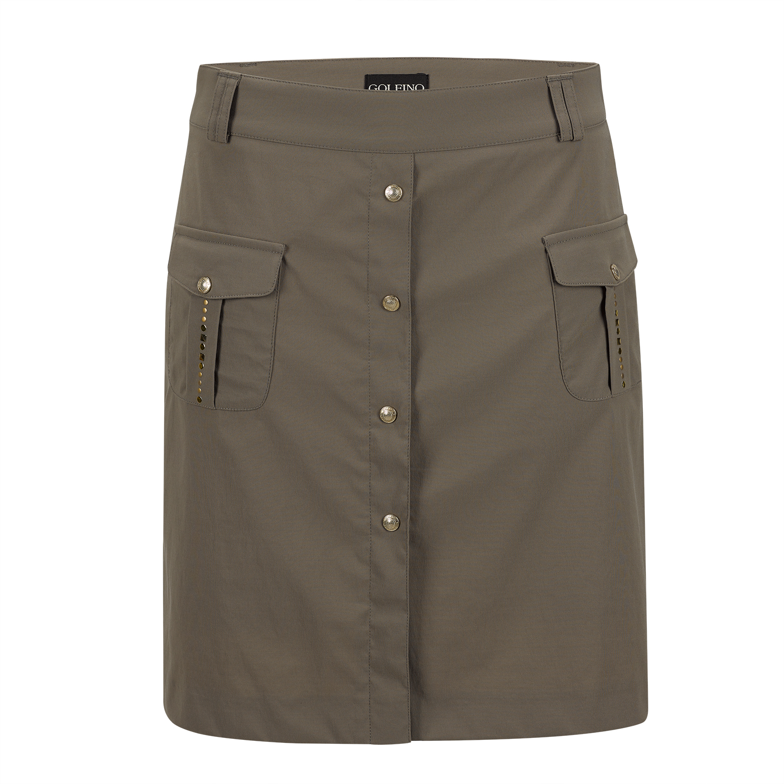 Damen Stretch-Golfskort mit goldfarbenen Metalldetails und Anti-UV Funktion