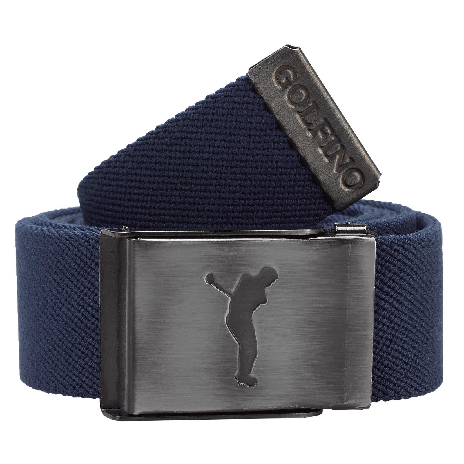 Gestreifter Herren Golf-Wendegürtel mit nickelfreier Klemm-Schließe