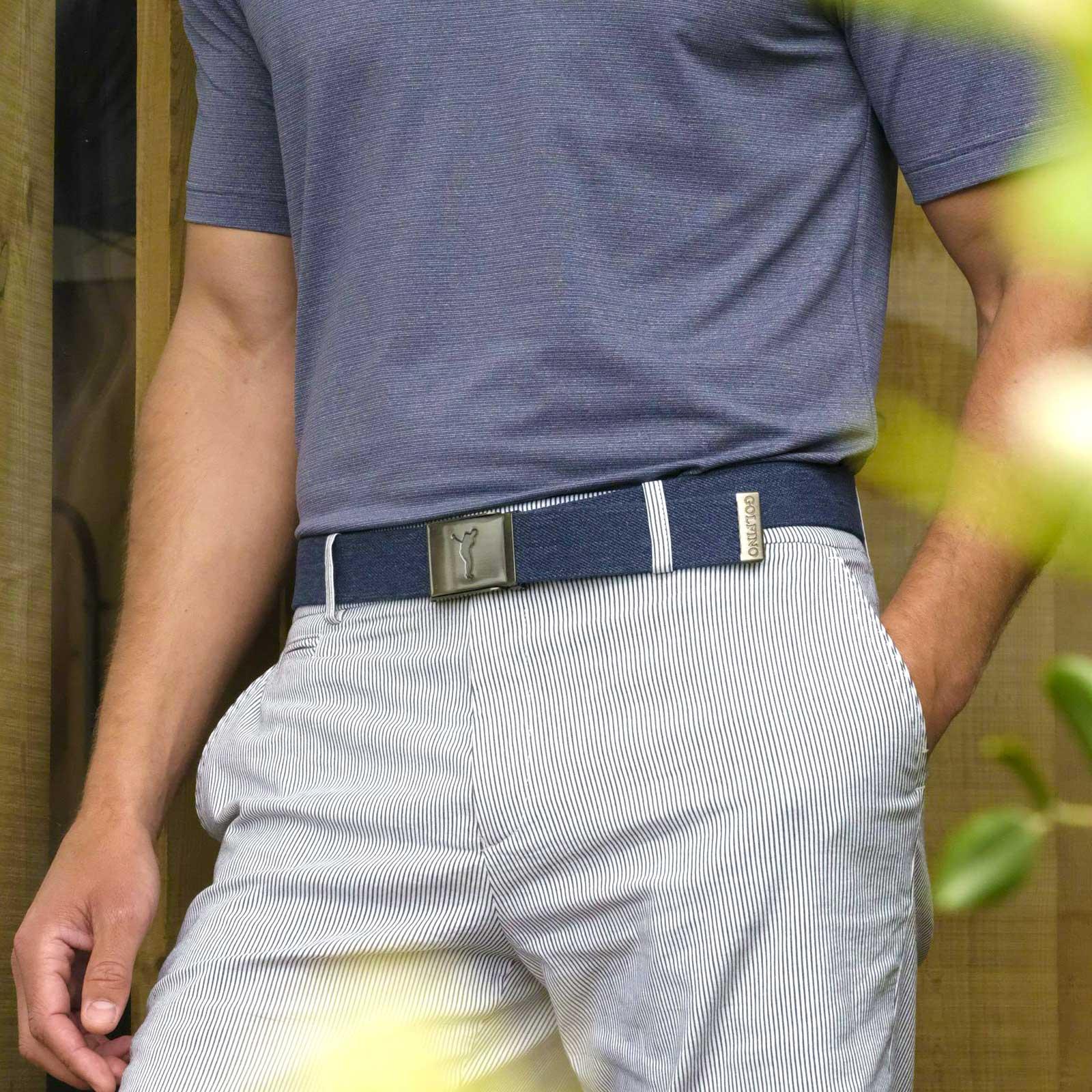 Herren Golfgürtel im Denim-Look mit nickelfreier Klemm-Schnalle