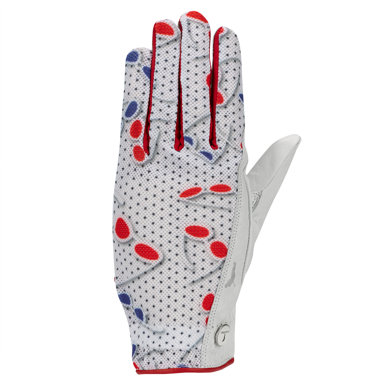 Ladies' left golf glove in nappa leather with fashionable print