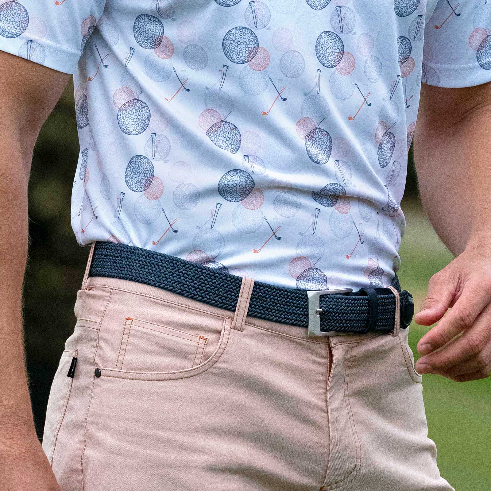 Men's Golf stretch belt with exclusive leather trim and pin buckle
