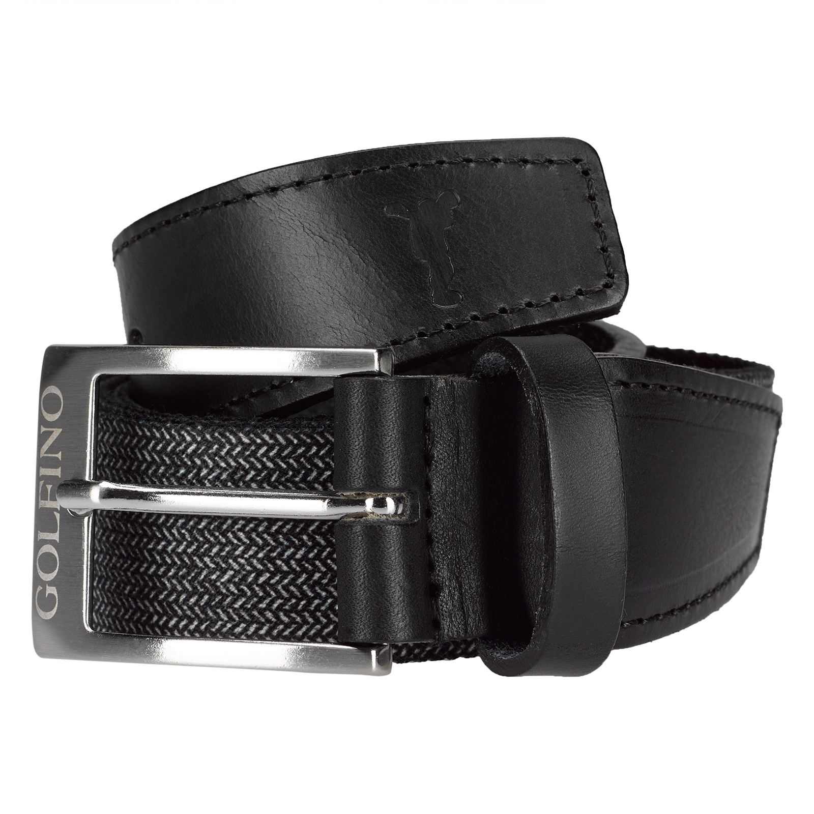 Elegant and elastic men's golf belt with exclusive leather trim