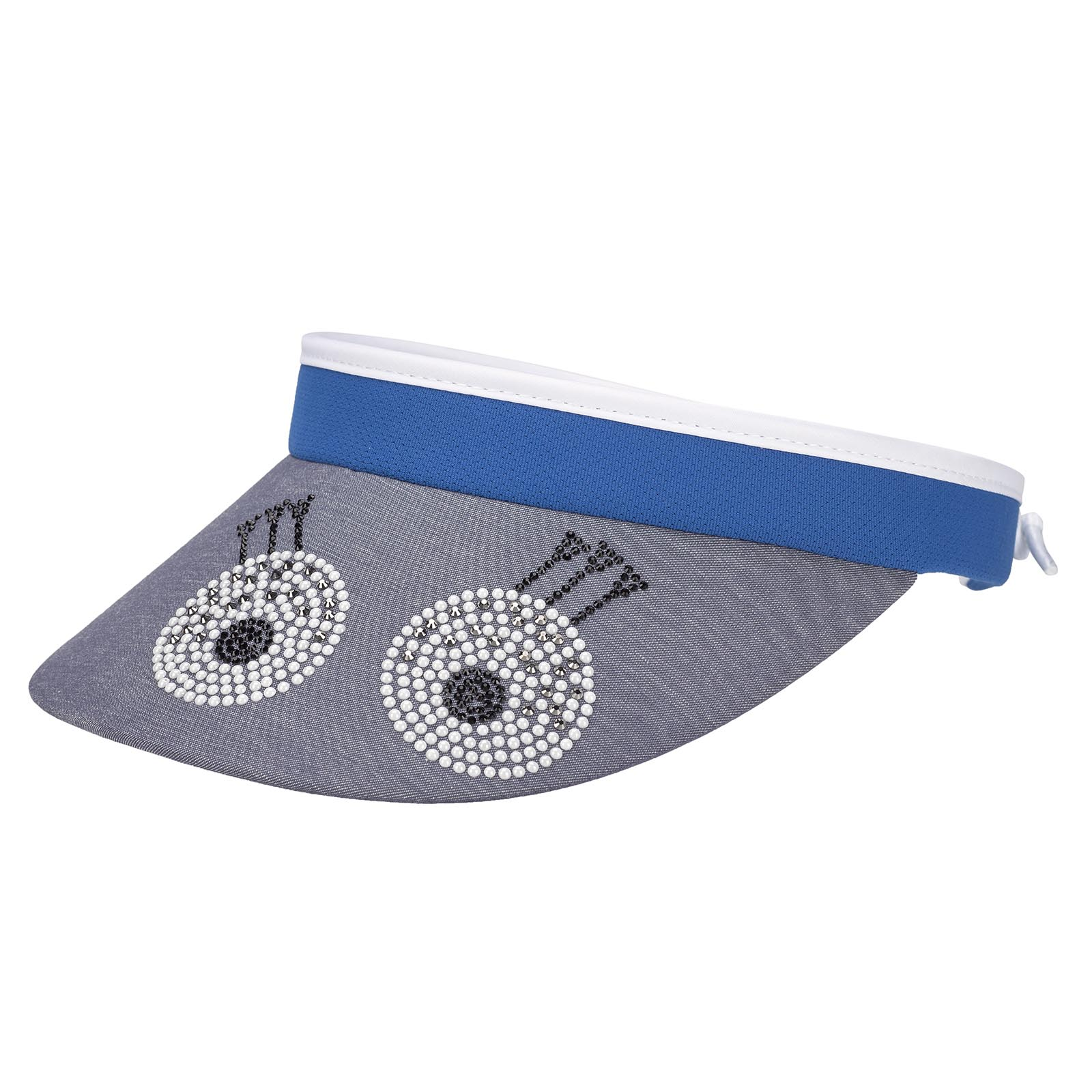 Damen Retro Golf Cable Visor mit Schirm in Denim-Optik und Glitzerbesatz