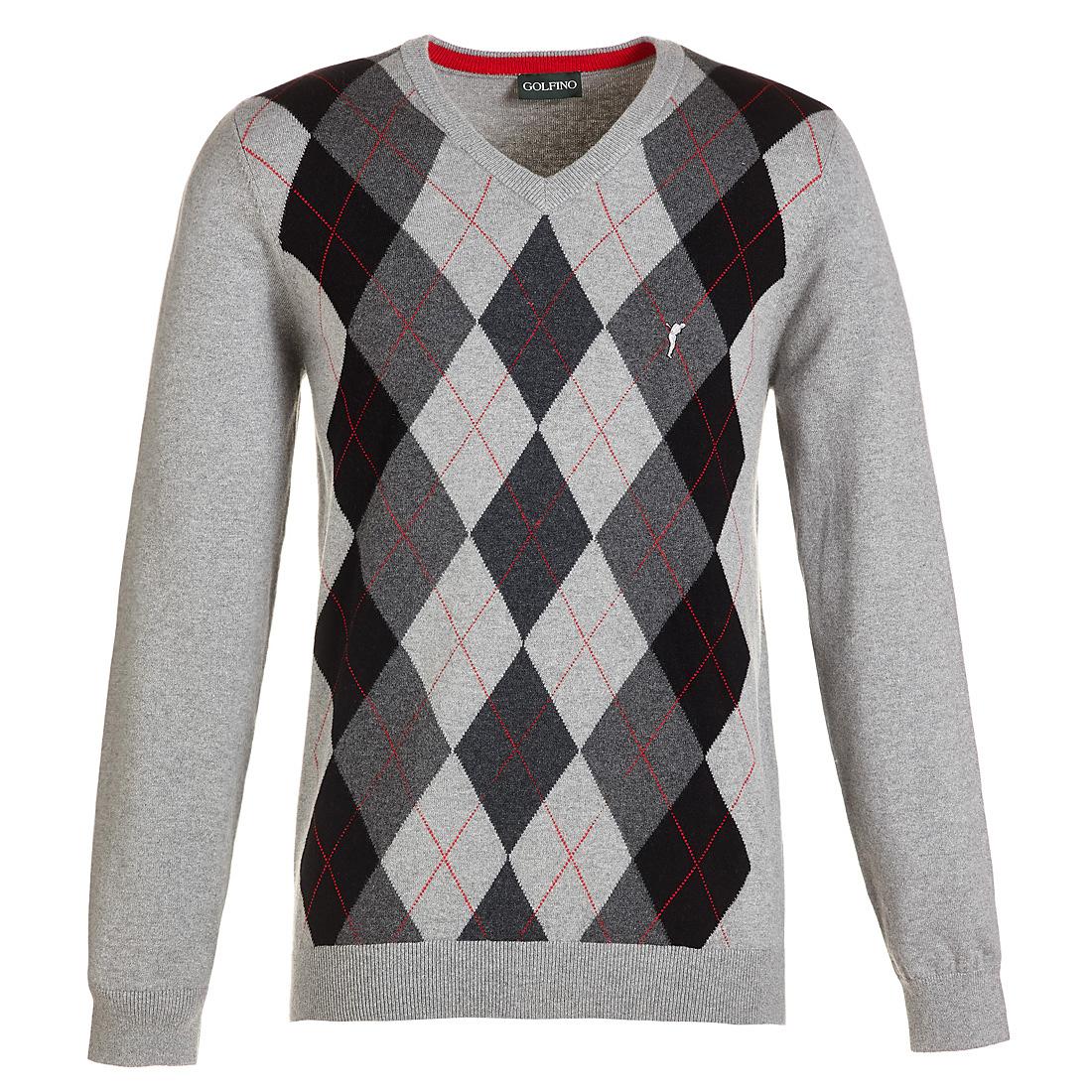 Golf Pullover mit V-Ausschnitt und Argyle-Muster
