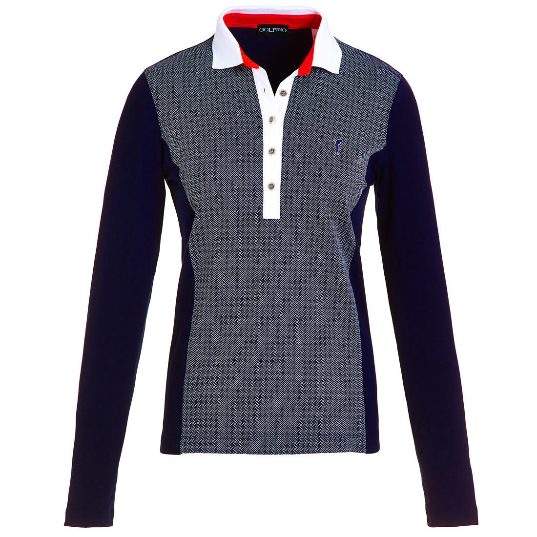 Langarm Jacquard Poloshirt