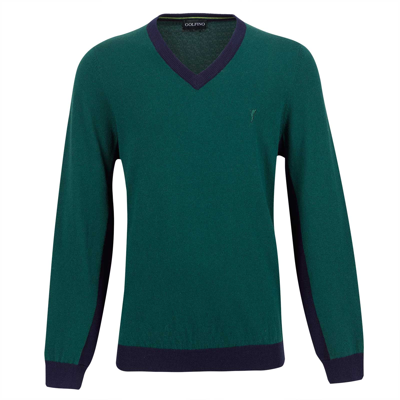 Men's knitted sweater made from Merino cotton blend with V-neck