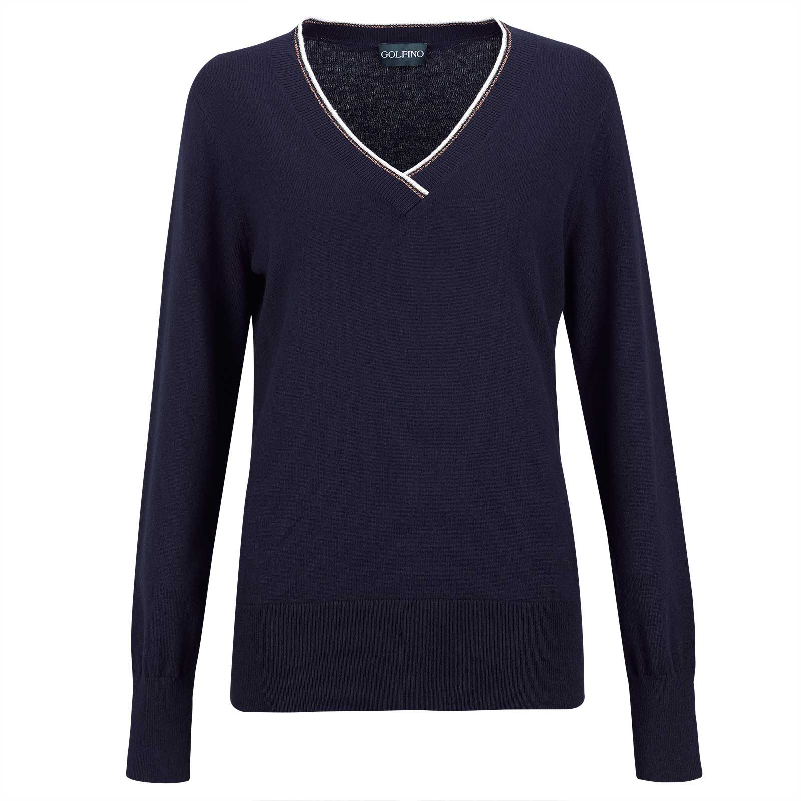 Ladies' V-neck knitted sweater made from soft cotton with cashmere