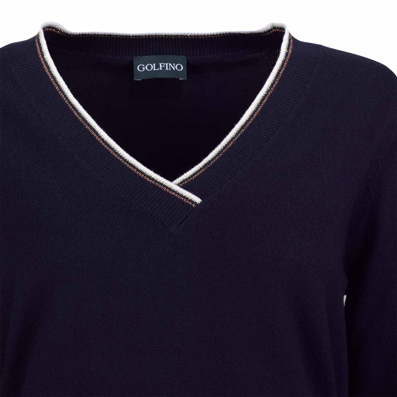 Damen V-Ausschnitt Strickpullover aus Soft Cotton mit Kaschmiranteil