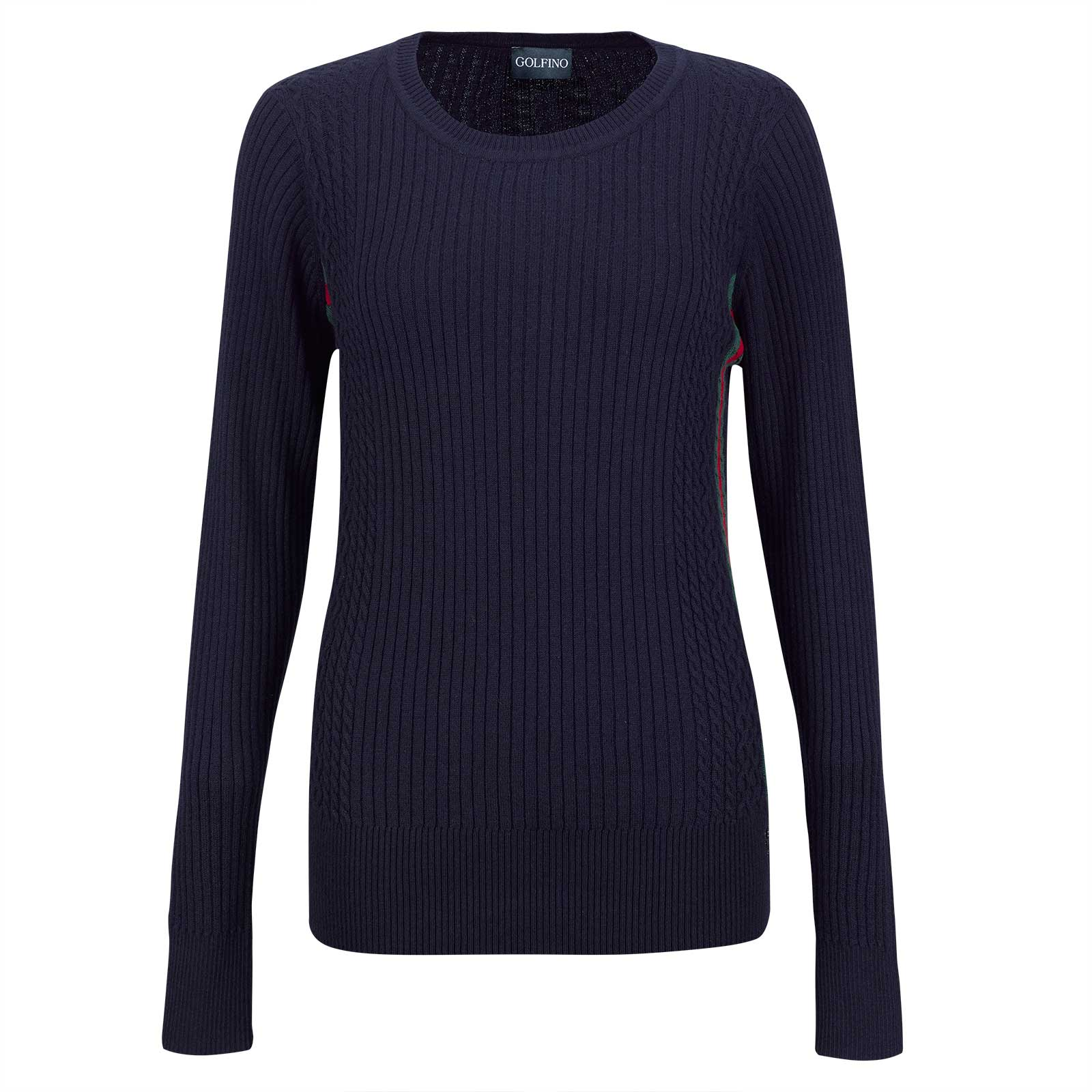 Ladies' cashmere blend sweater with V-neck and cable stitch pattern