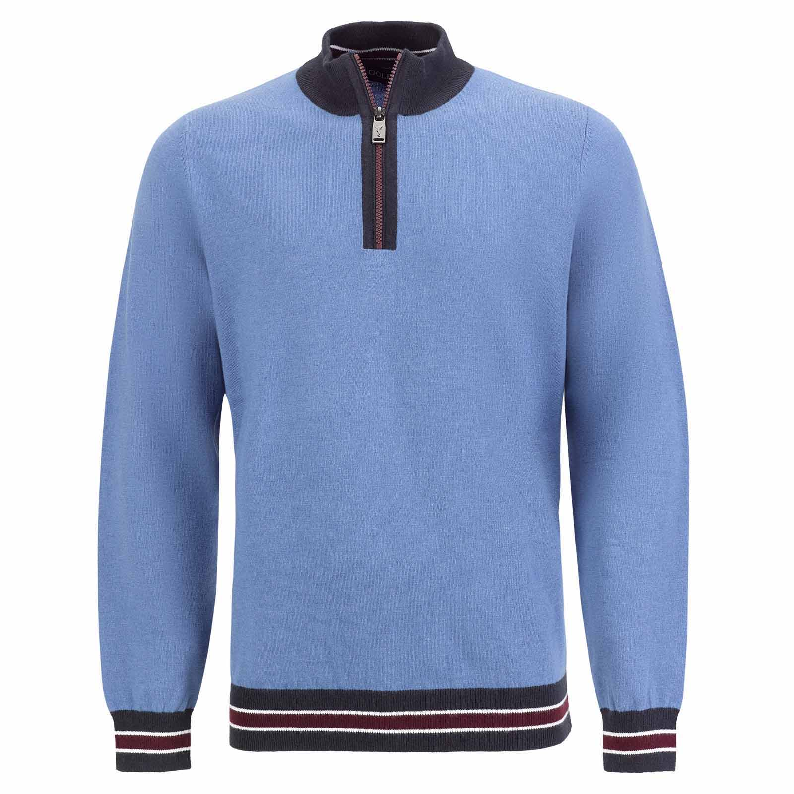 Men's knitted Merino troyer with short zip and subtle colour contrasts
