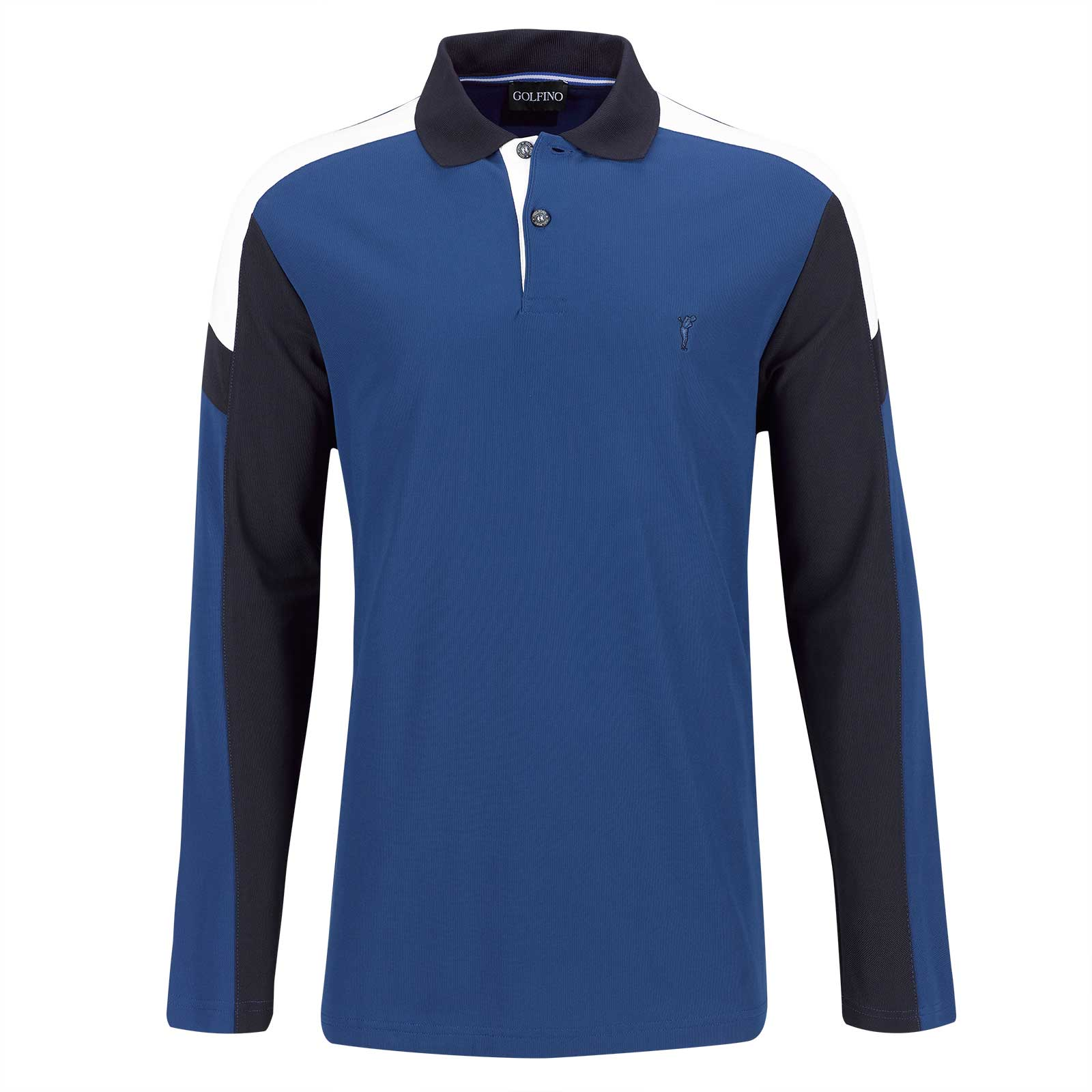 Men's long-sleeve functional golf polo with Moisture Management in pro look
