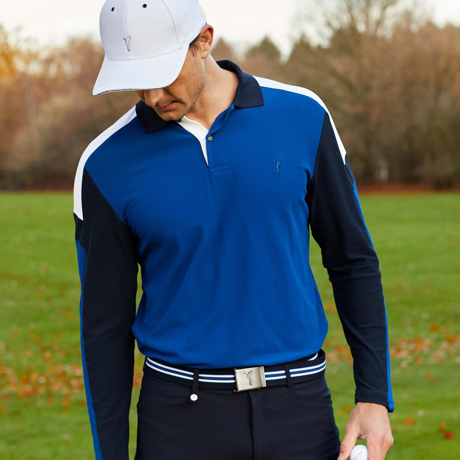 Herren Langarm Funktions-Golfpolo mit Moisture Management im Pro Look