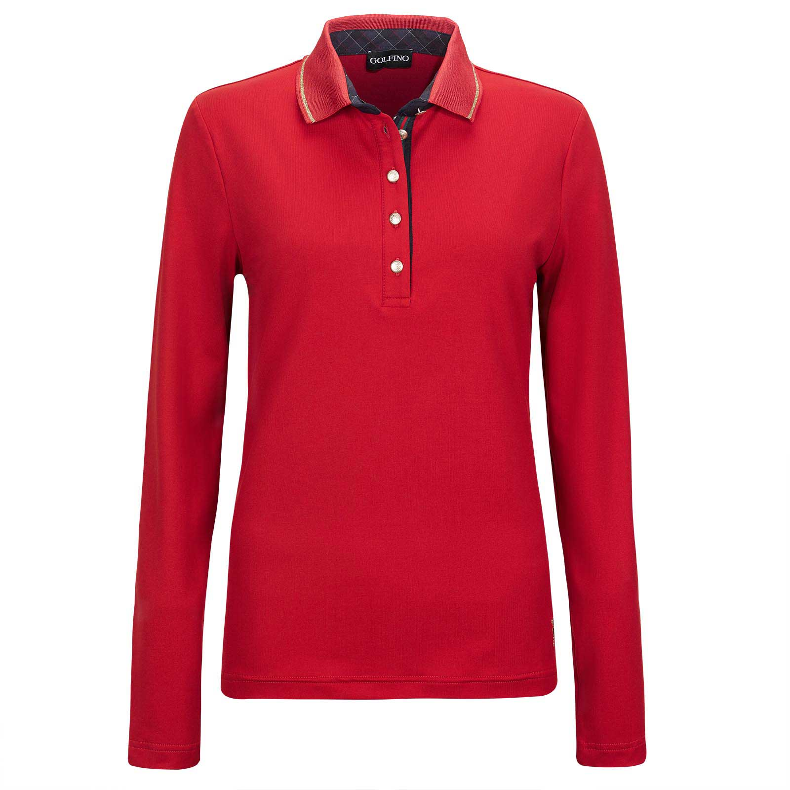 Women's long-sleeve golf polo with Moisture Management and golden details