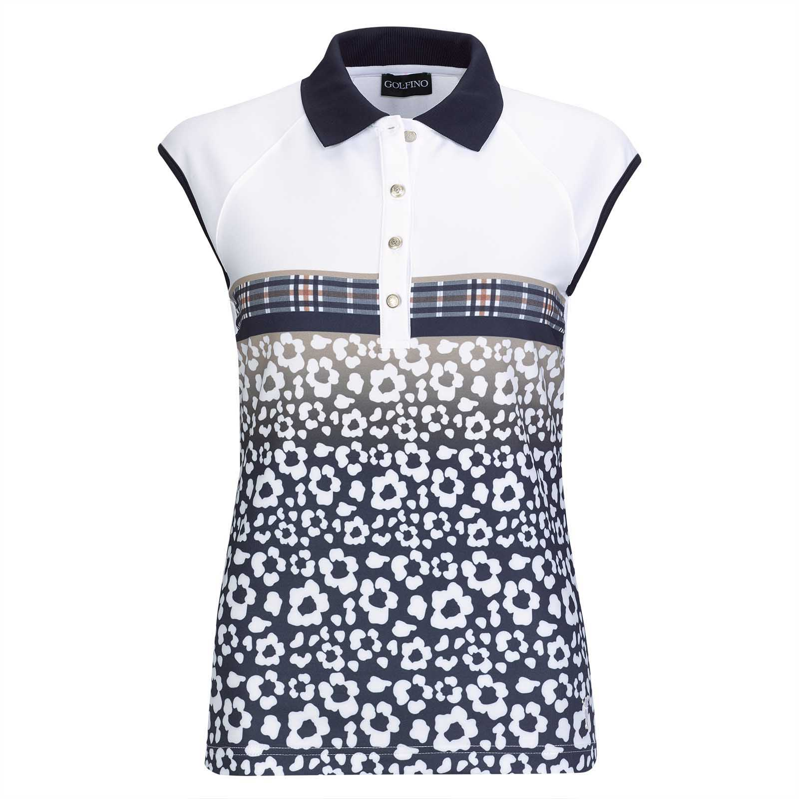 Ladies' sleeveless golf polo with fashionable flower print