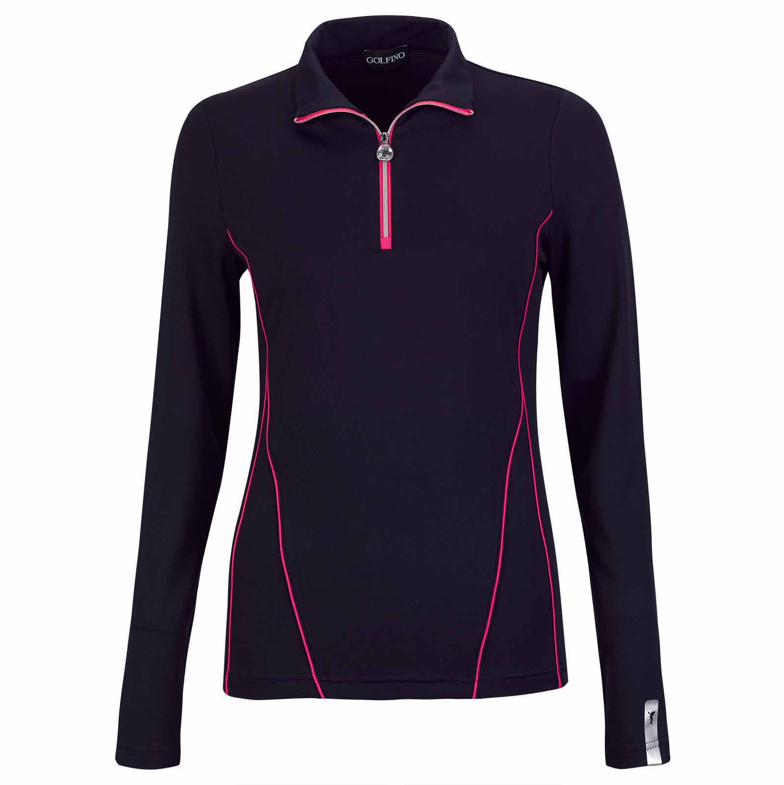 Ladies' elastic long-sleeve golf troyer with Moisture Management