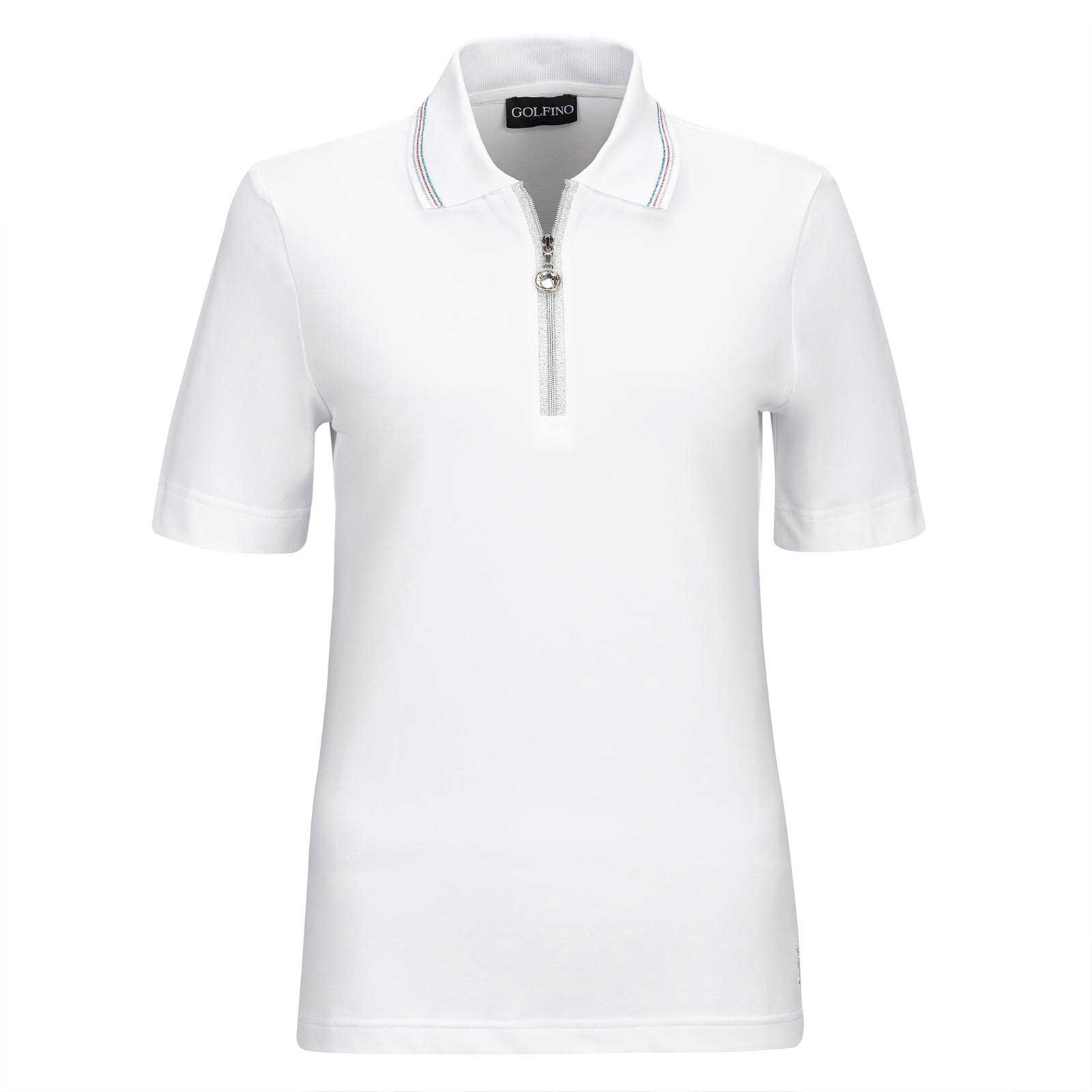 Ladies' short-sleeve functional golf polo with Sun Protection in fine cotton blend