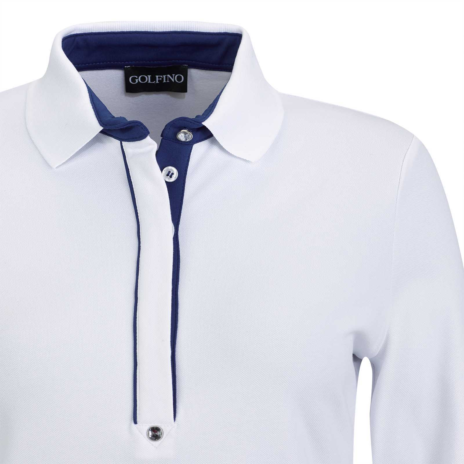 Langarm Damen Funktions-Golfpolo mit Sun Protection aus Cotton-Blend