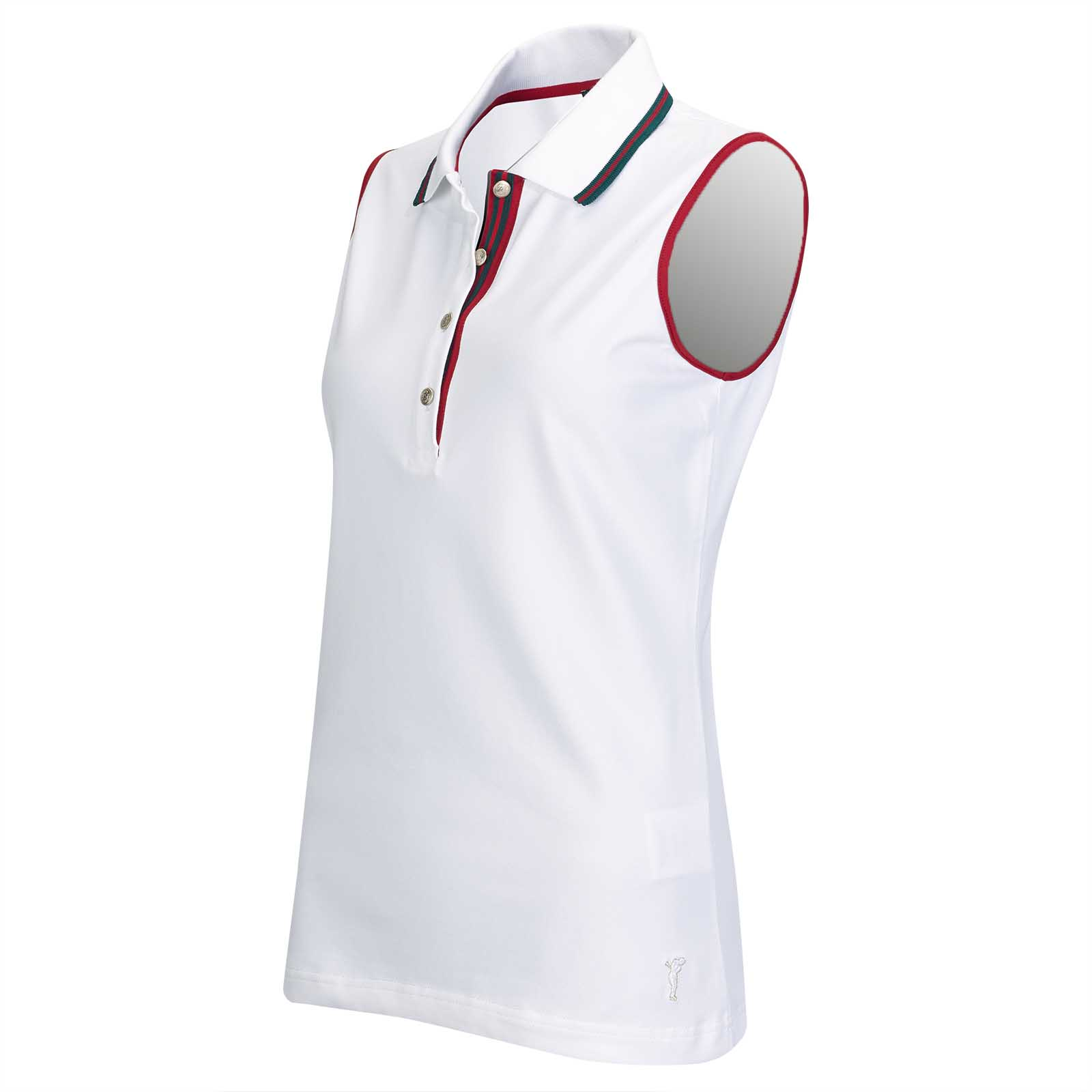 Ladies' sleeveless functional piqué of cotton blend with Sun Protection