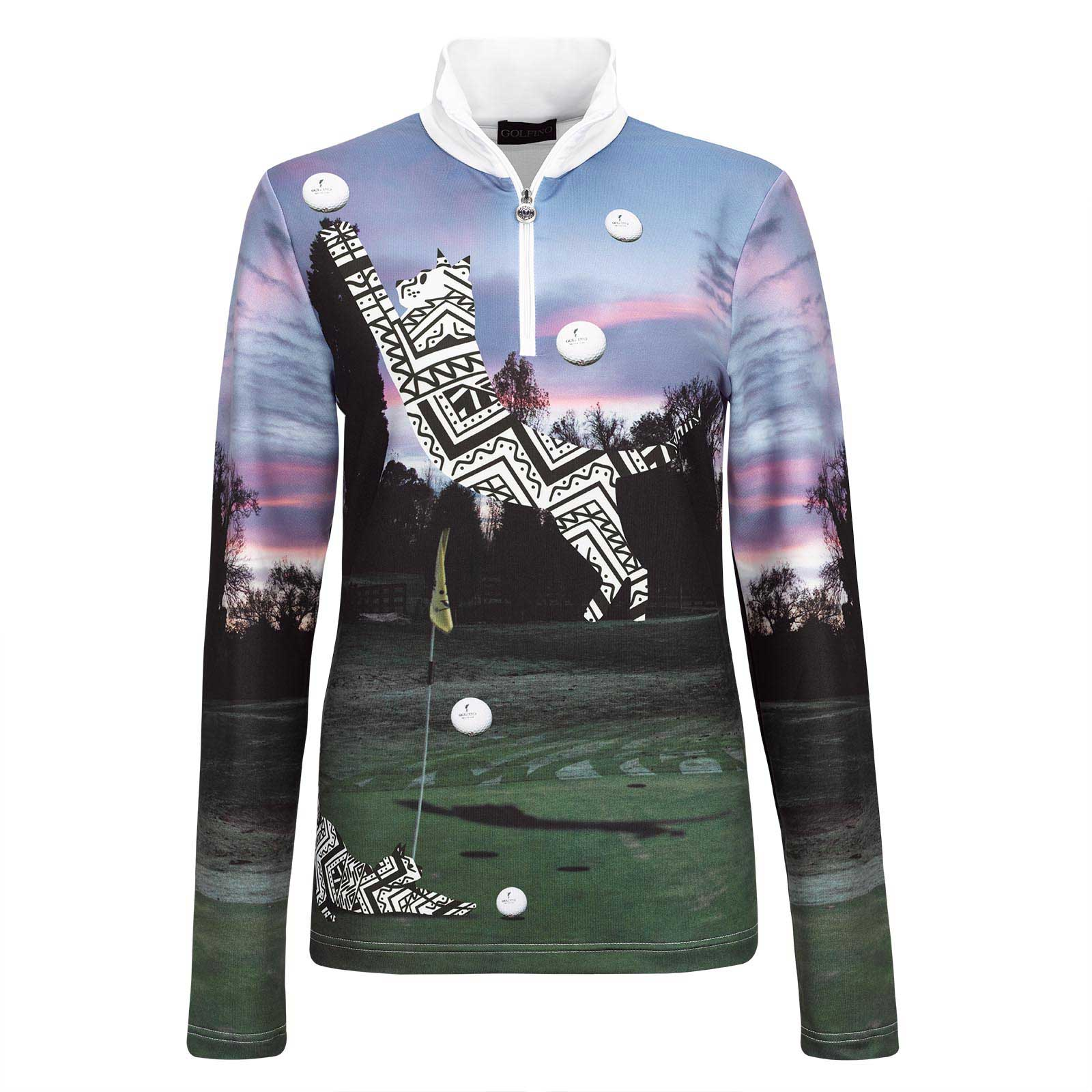Damen Langarm Techno-Stretch Funktions-Golftroyer mit Golf Print