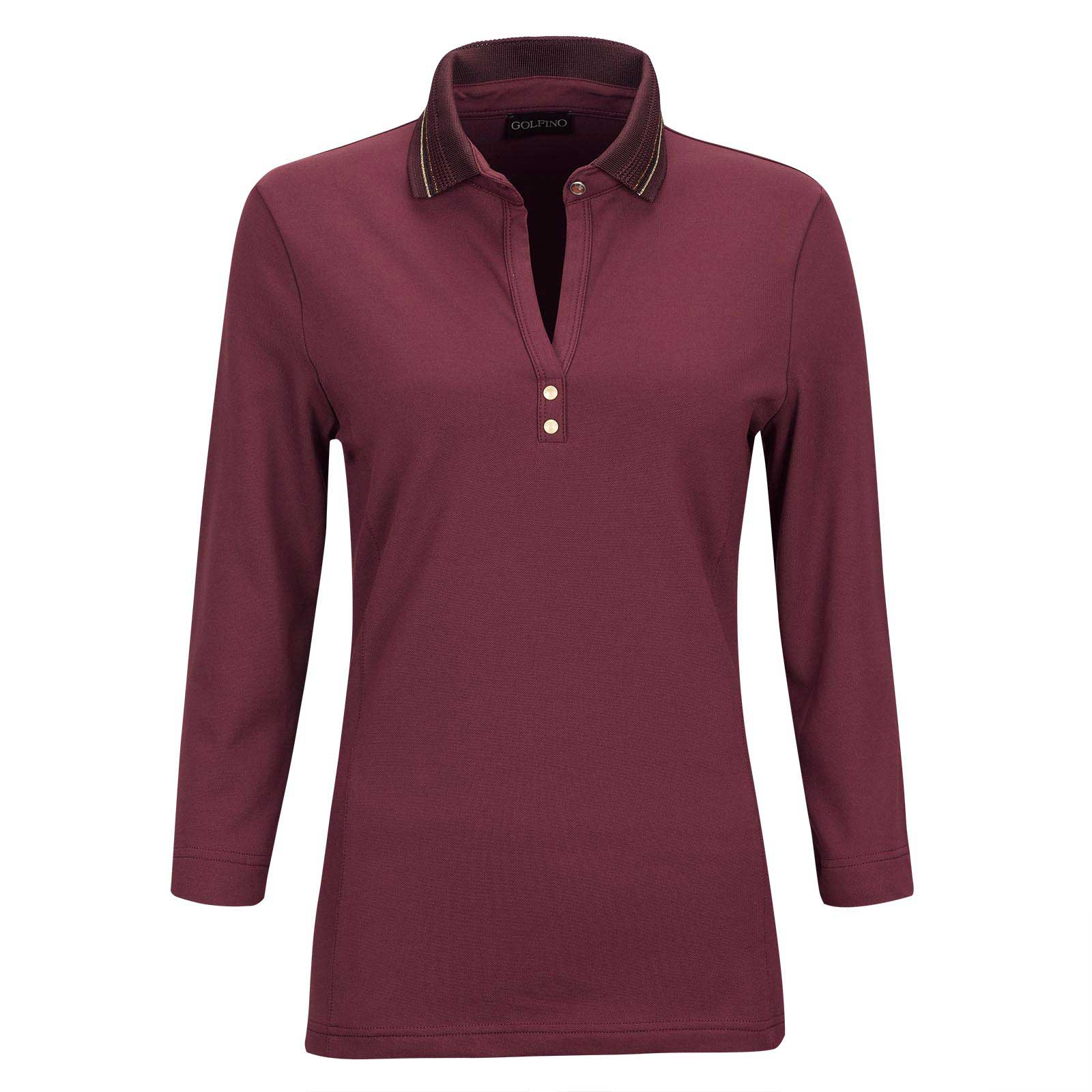 Ladies' 3/4 sleeve golf polo with Sun Protection function and eye-catching neckline