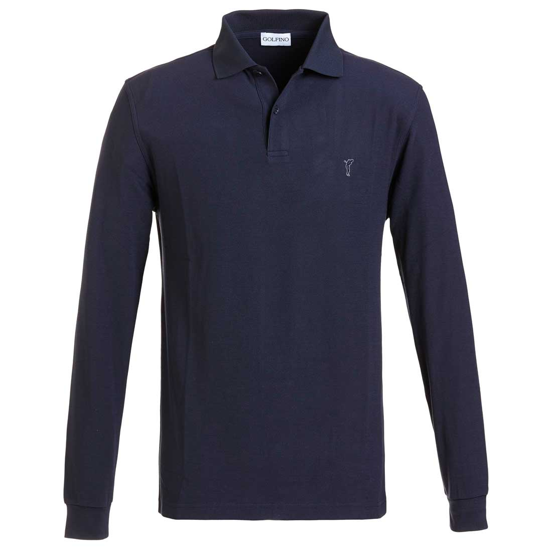 Men's long-sleeve basic golf polo with Moisture Management in regular fit