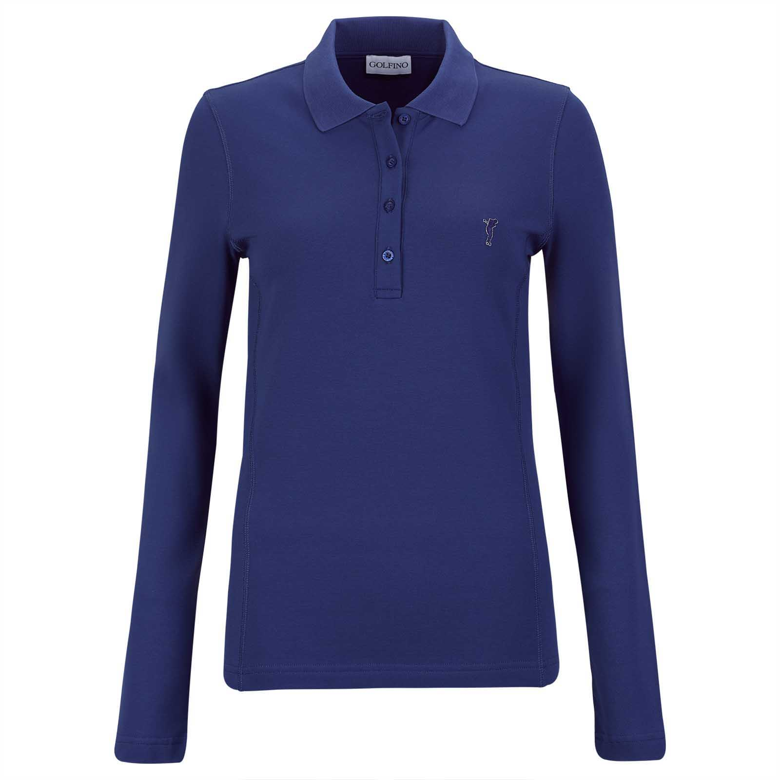 Warming long-sleeve ladies' golf polo with Sun and Cold Protection in slim fit
