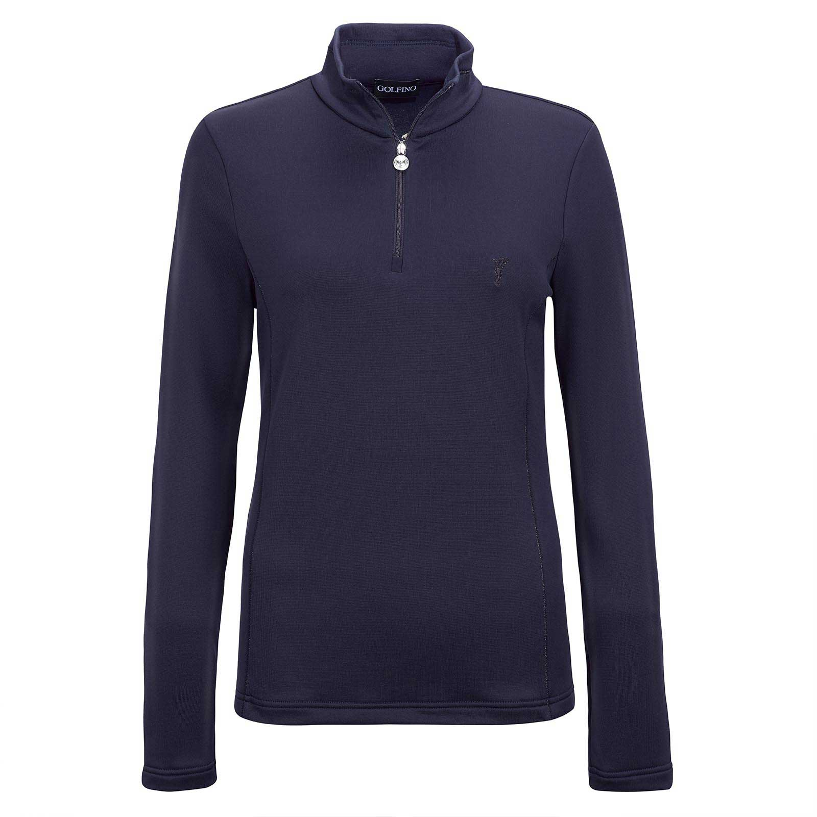 Ladies' long-sleeve techno stretch golf troyer with metallic stitching details