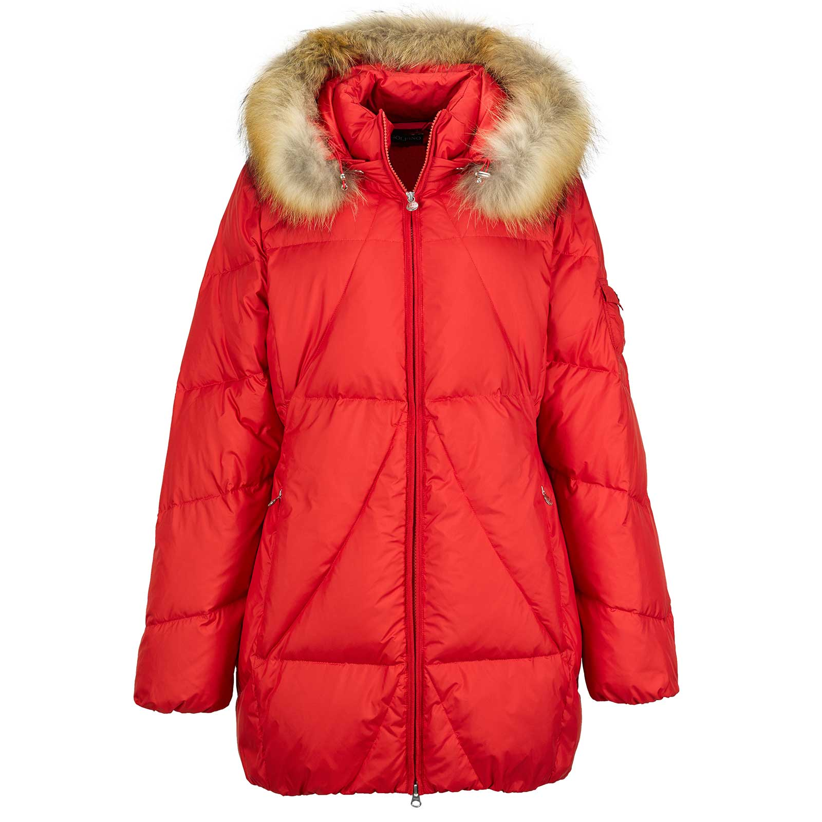 Ladies' padded jacket with down feather filling, real fur collar and longer fit