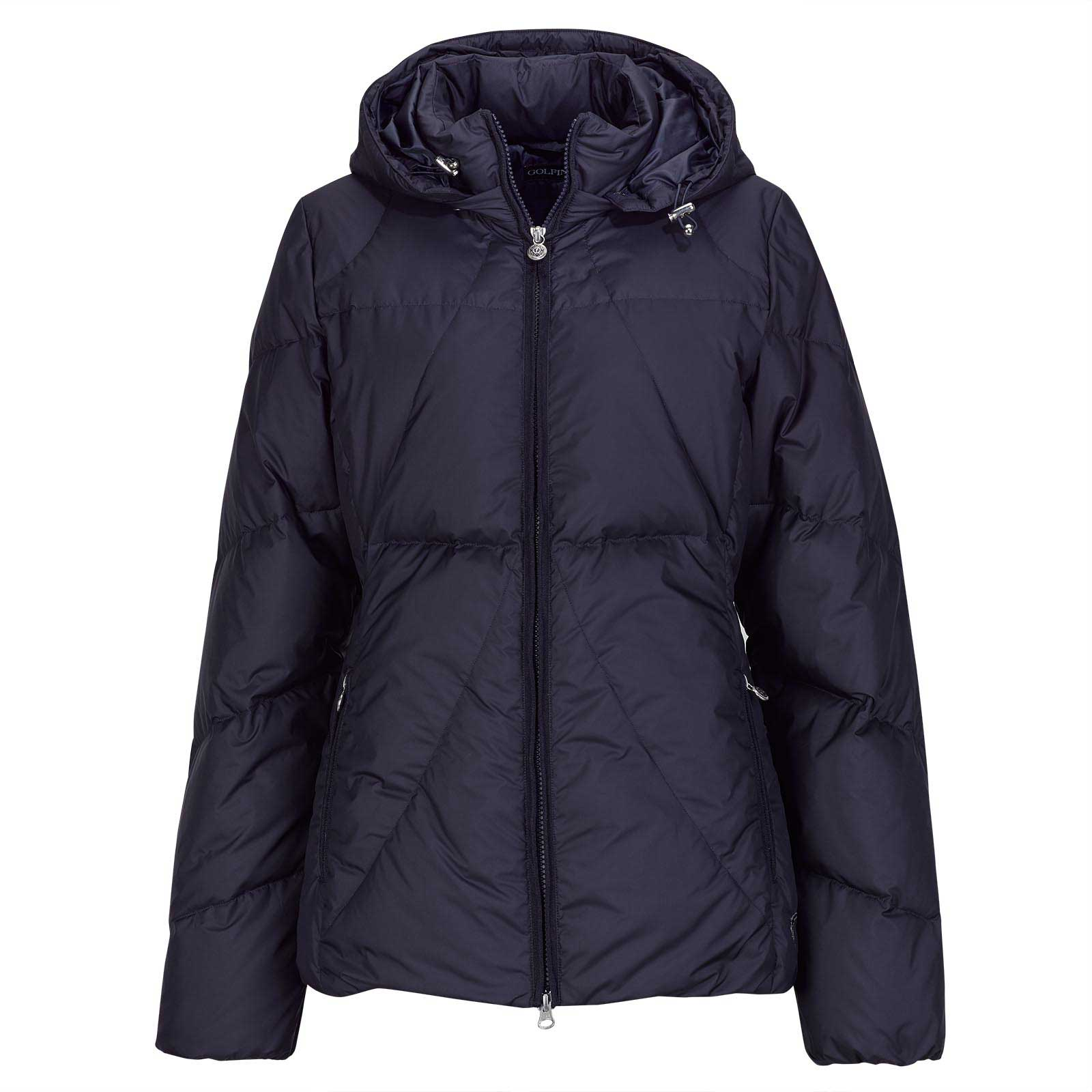 Ladies' quilted jacket with down filling and removable hood