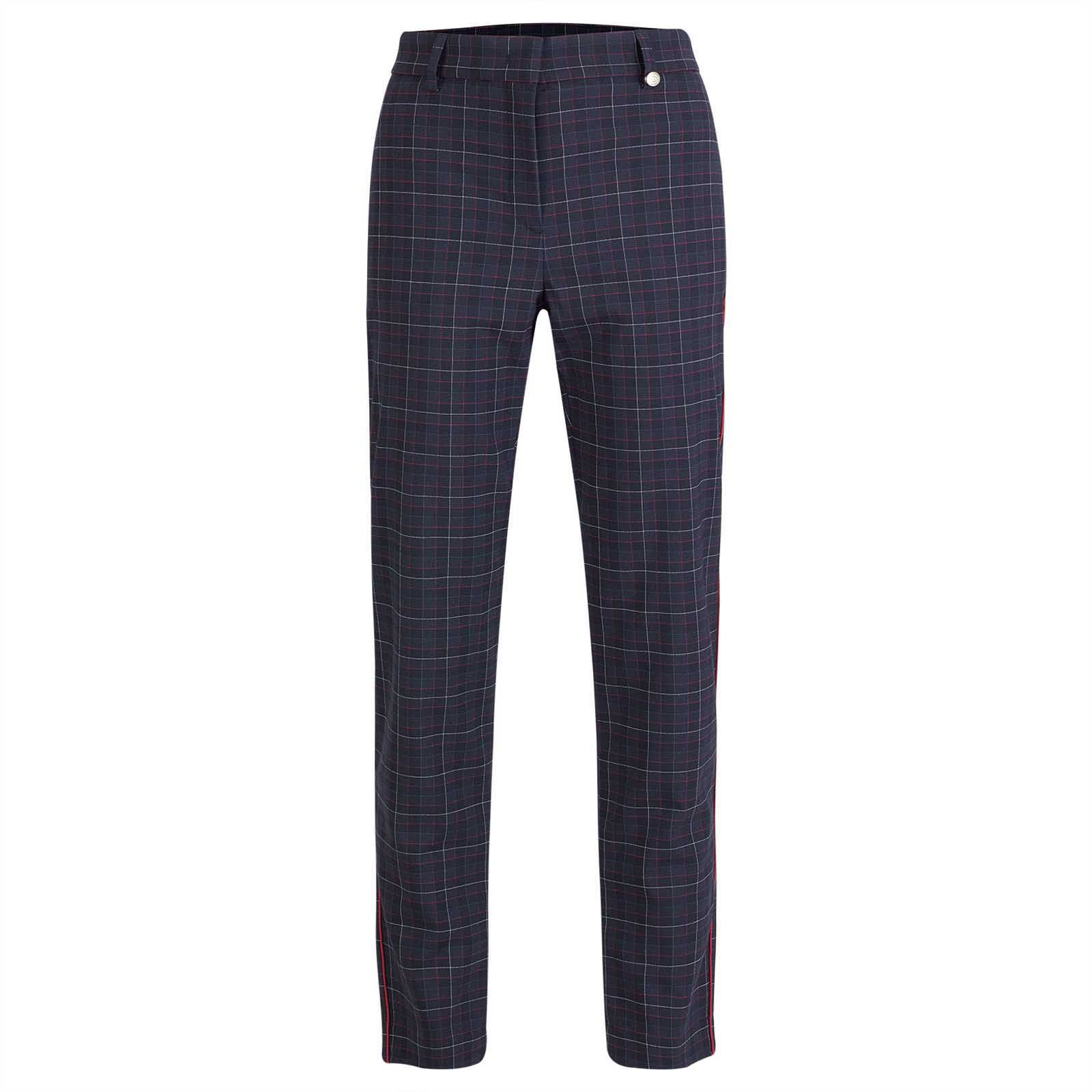 Ladies' checked golf trousers in 7/8 length from soft stretch fabric