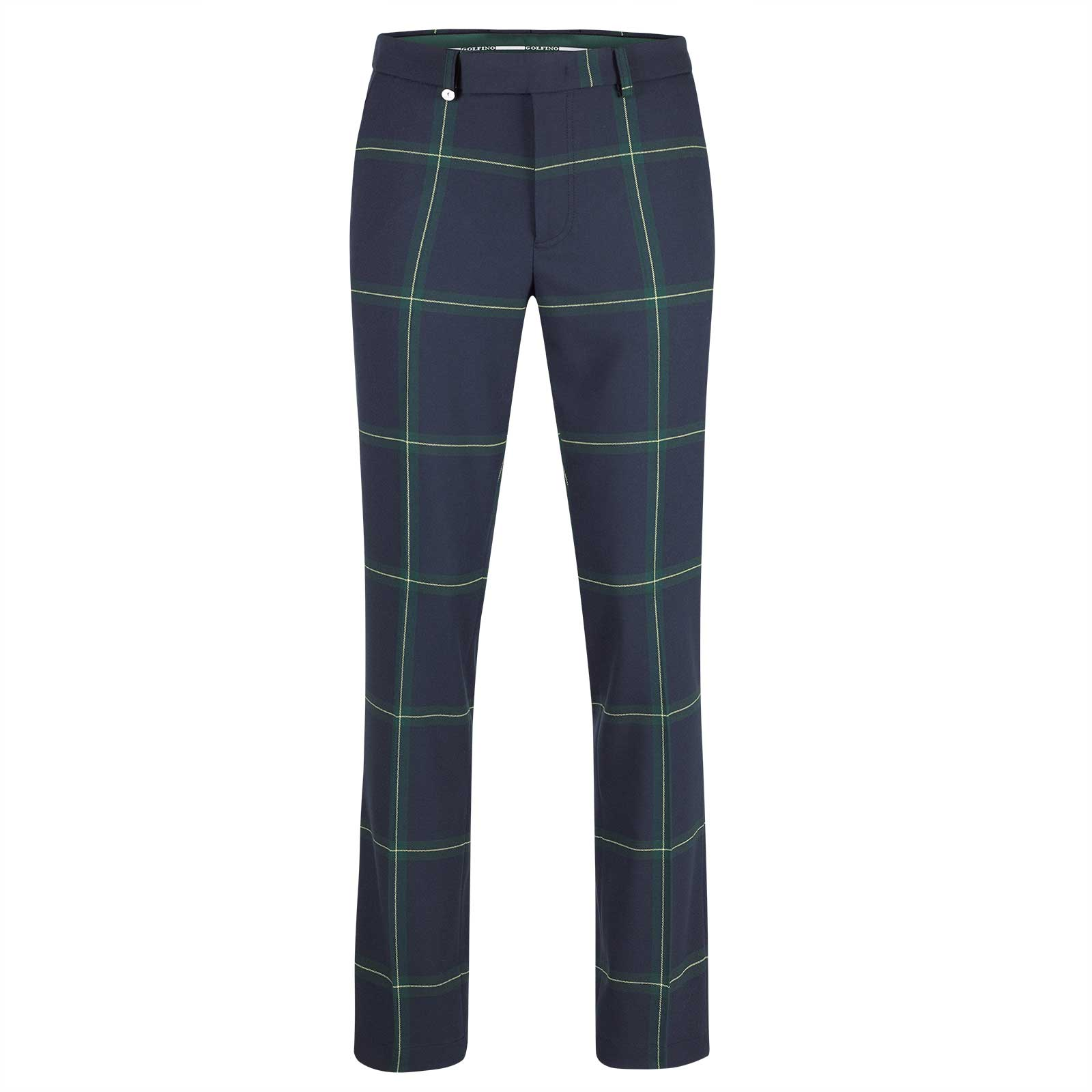 Men's stretch trousers with classic golf check and modern fit