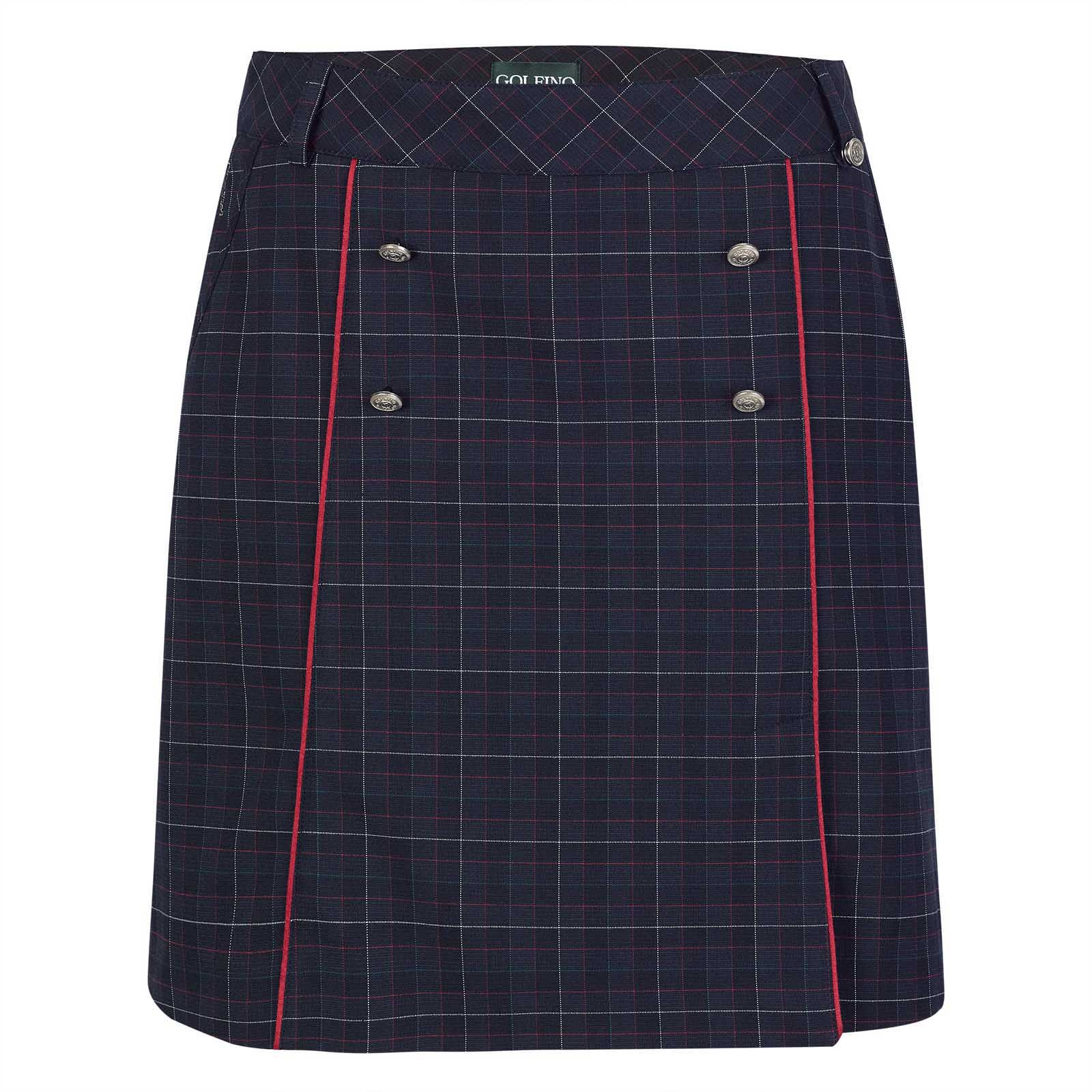 Ladies' check golf skort made from soft stretch material with integrated shorts