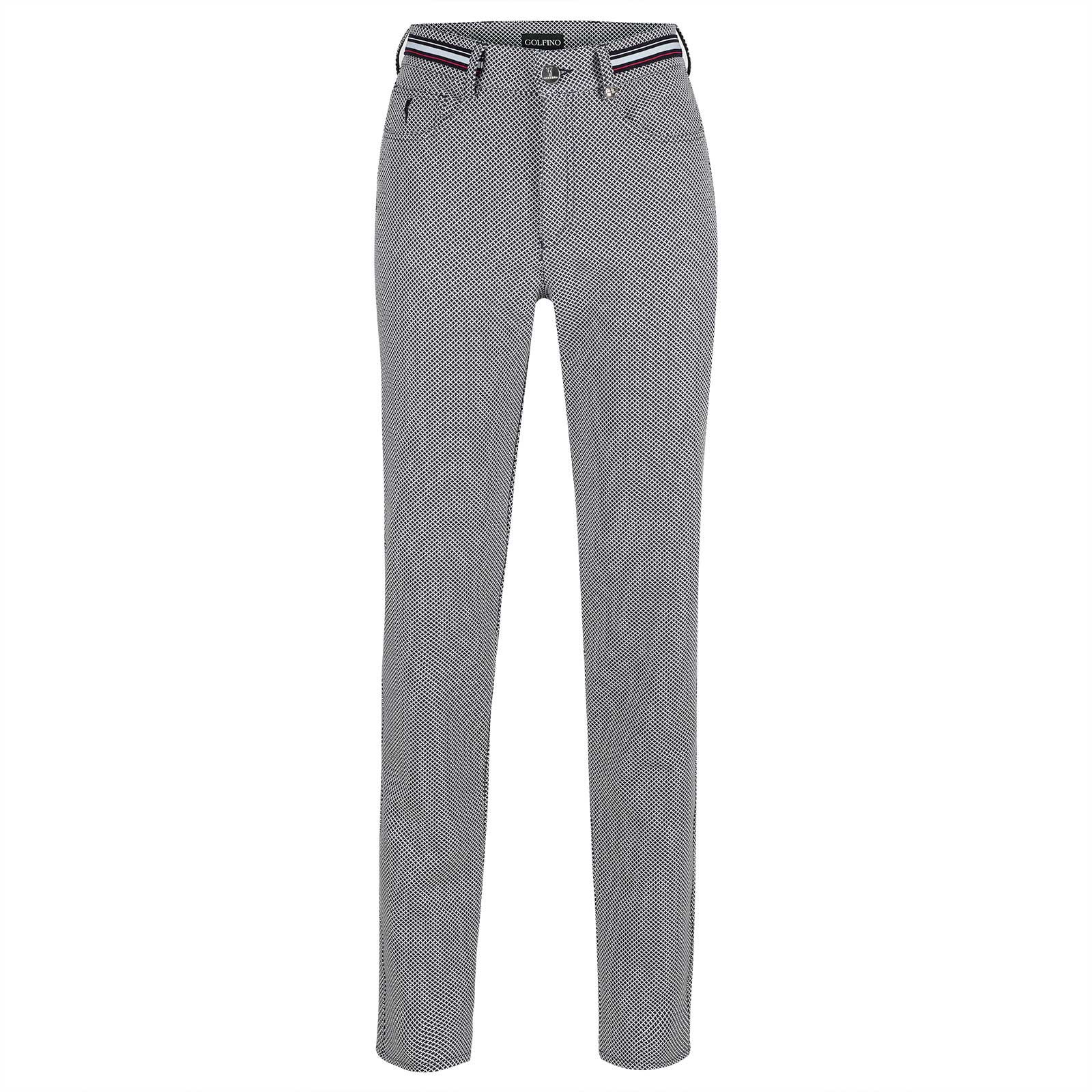 Ladies patterned 7/8 golf trousers with stretch function in 5-pocket style