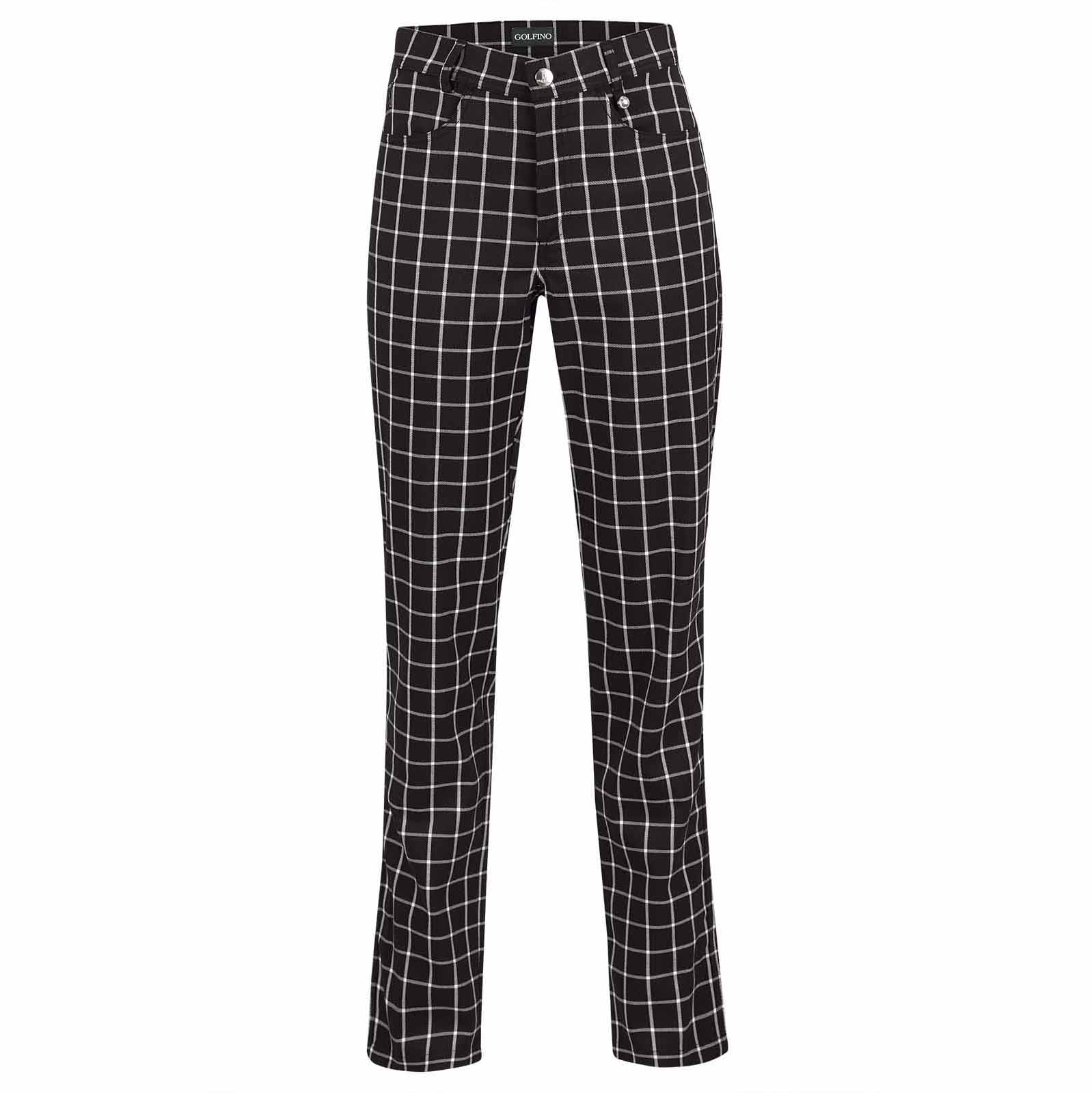 Ladies' waterproof 7/8 checked golf trousers with stretch function