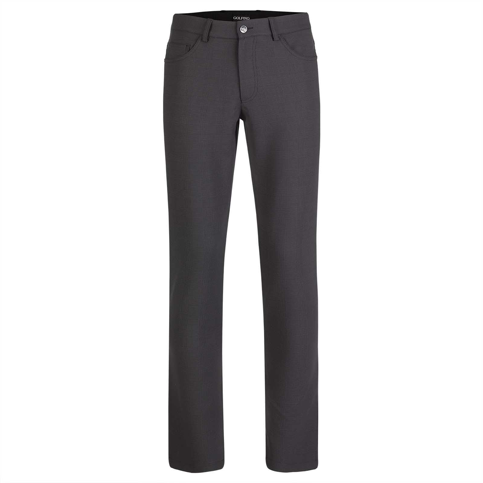 Men's stretch function golf trousers in classic checked pattern