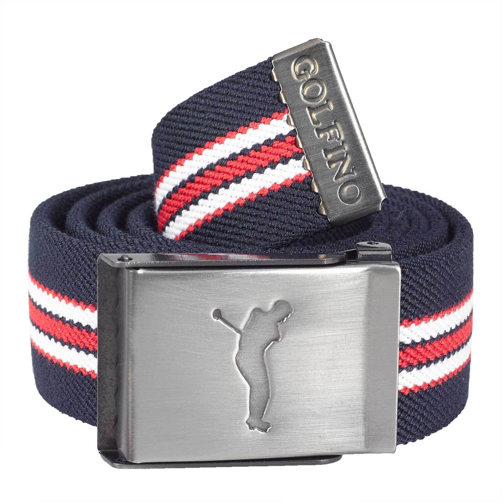 Men's comfort stretch golf belt made from fine woven fabric with reversable functional