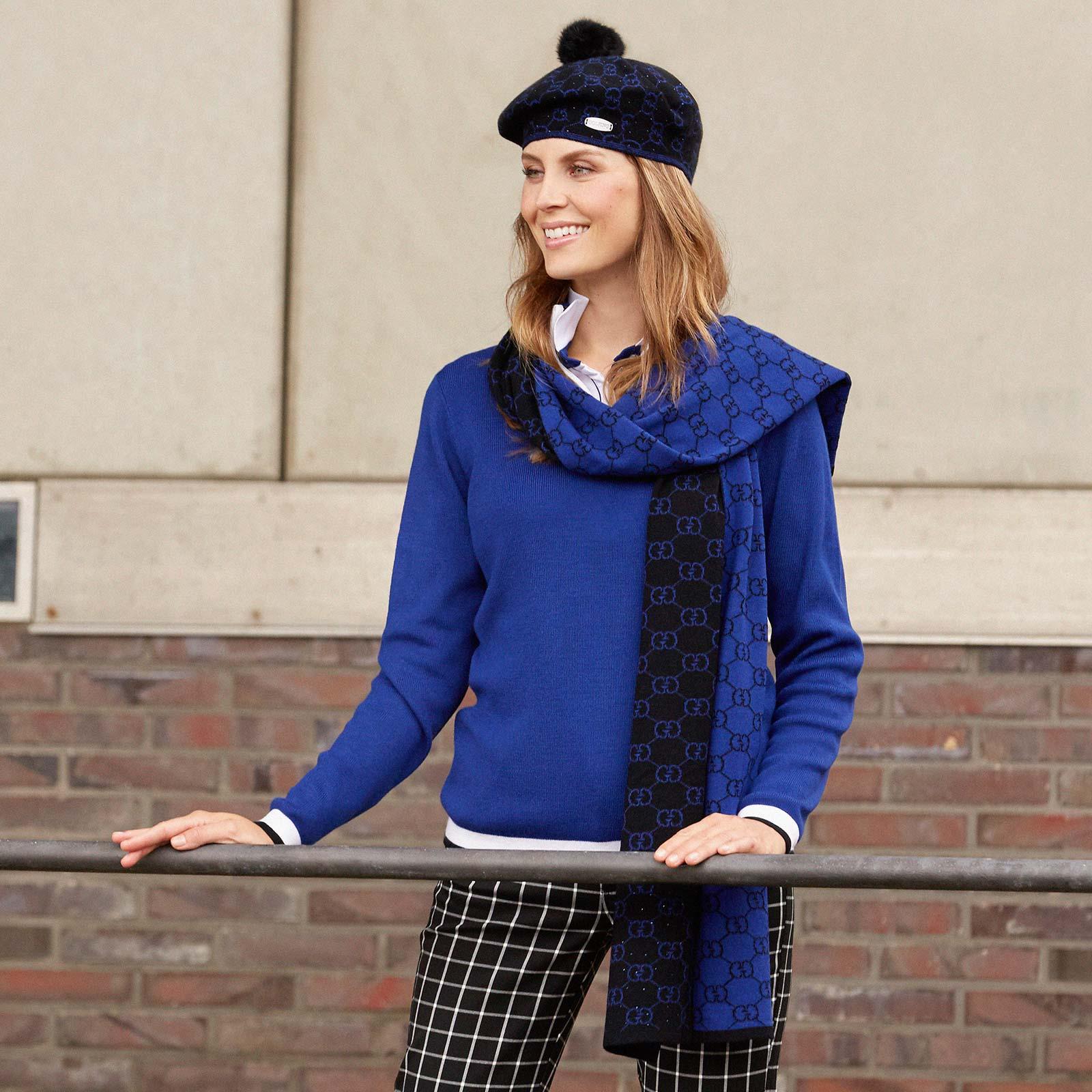 Softe und gut isolierende Damen Golf-Strickmütze mit Strassbesatz